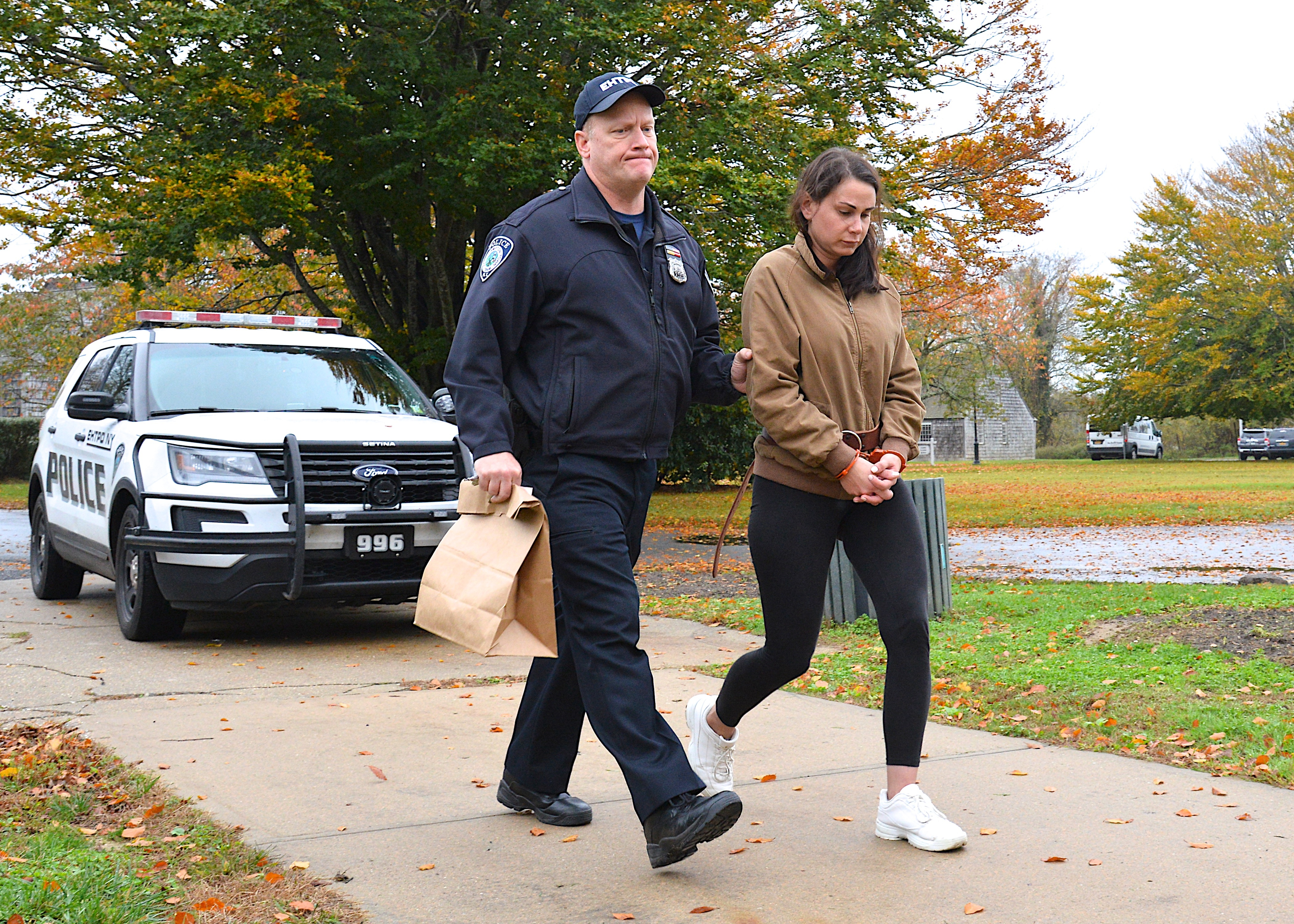 Lisa Rooney at arraignment at East Hampton Town Justice Court on Thursday.     KYRIL BROMLEY