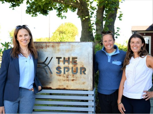 The Spur's first nonprofit Wednesday had several organizations take advantage of the free co-working space. Pictured from left to right are Michele Sacconaghi from The Wellness Foundation, Jill Kampf from the Surfrider Foundation's Eastern Long Island Chapter and Molly Bishop from the Southampton Arts Center. ALEXIS GRAF