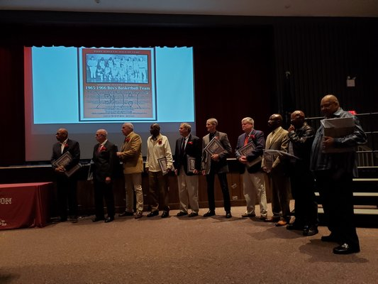 The 1965-1966 boys basektball team that was inducted into the East Hampton Athletic Hall of Fame on Saturday morning.