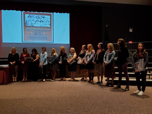 The 1993 field hockey team is inducted into the East Hampton Athletic Hall of Fame.