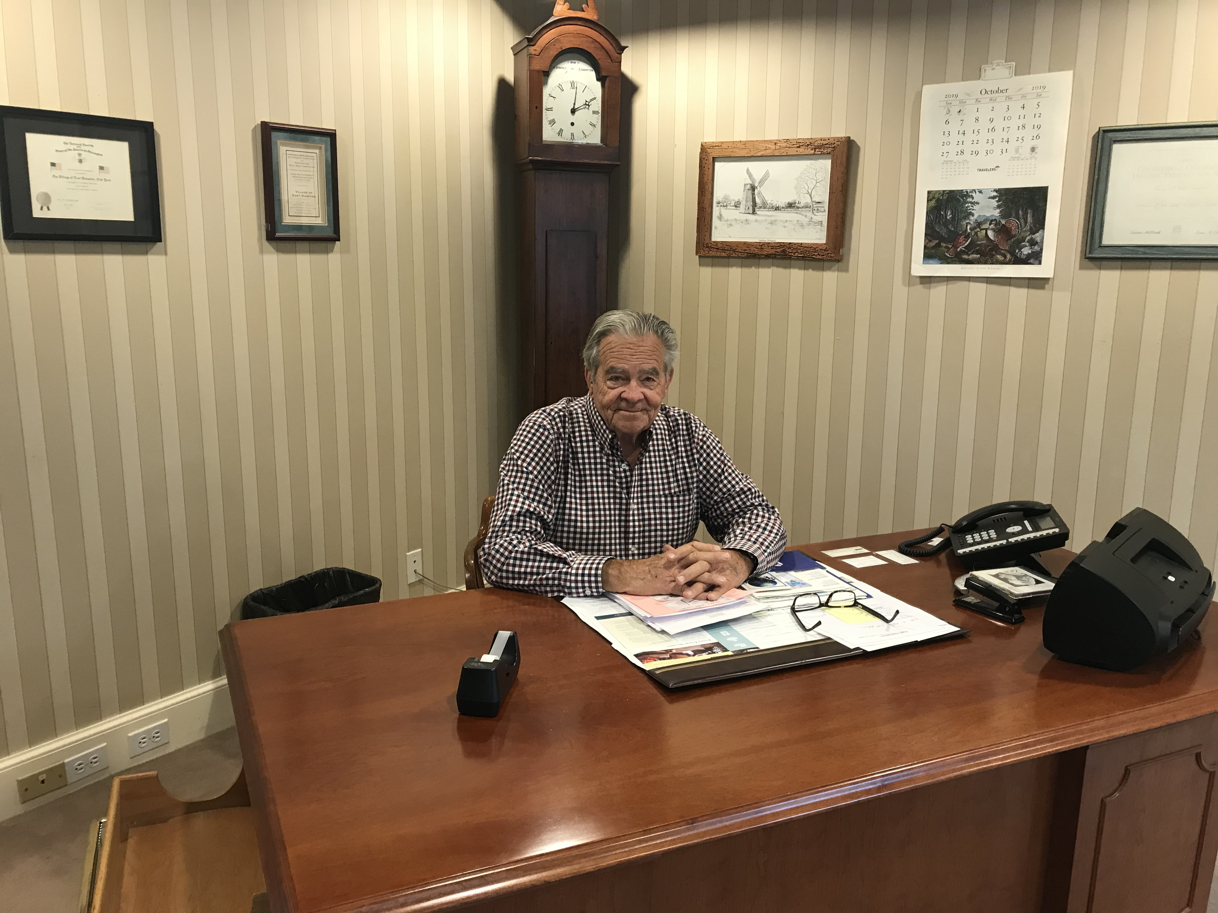 Mayor Paul F. Rickenbach Jr. in his office at East Hampton Village Hall this week.   ELIZABETH VESPE