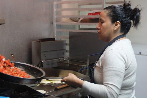 Gabriela Martinez prepares most of the food at the taqueria.