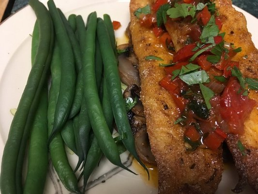 Late harvest green beans and flounder with tomato and red pepper sauce.
