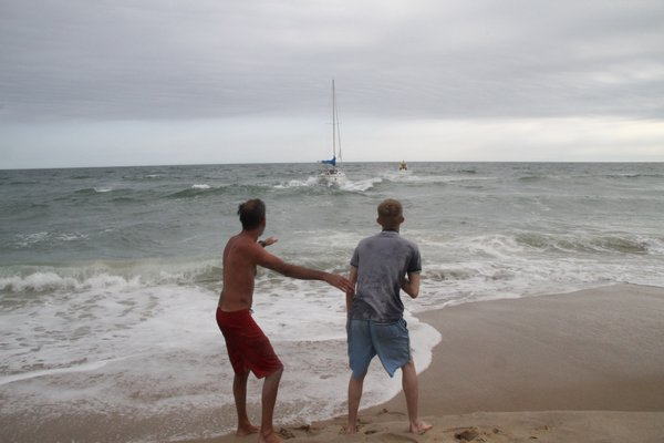 The sailboat Vanna White was pulled off the beach in Montauk on Thursday afternoon.