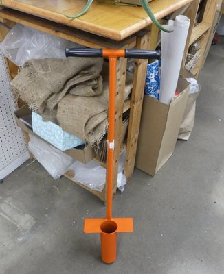 This heavy steel bulb planter will make a hole deep enough for most tulips and avoids the need to kneel when digging the planting holes. Simply use your foot to push the round blade into the soil, lift the soil plug, put the bulb in the hole and replace the soil with the soil in the planter. ANDREW MESSINGER