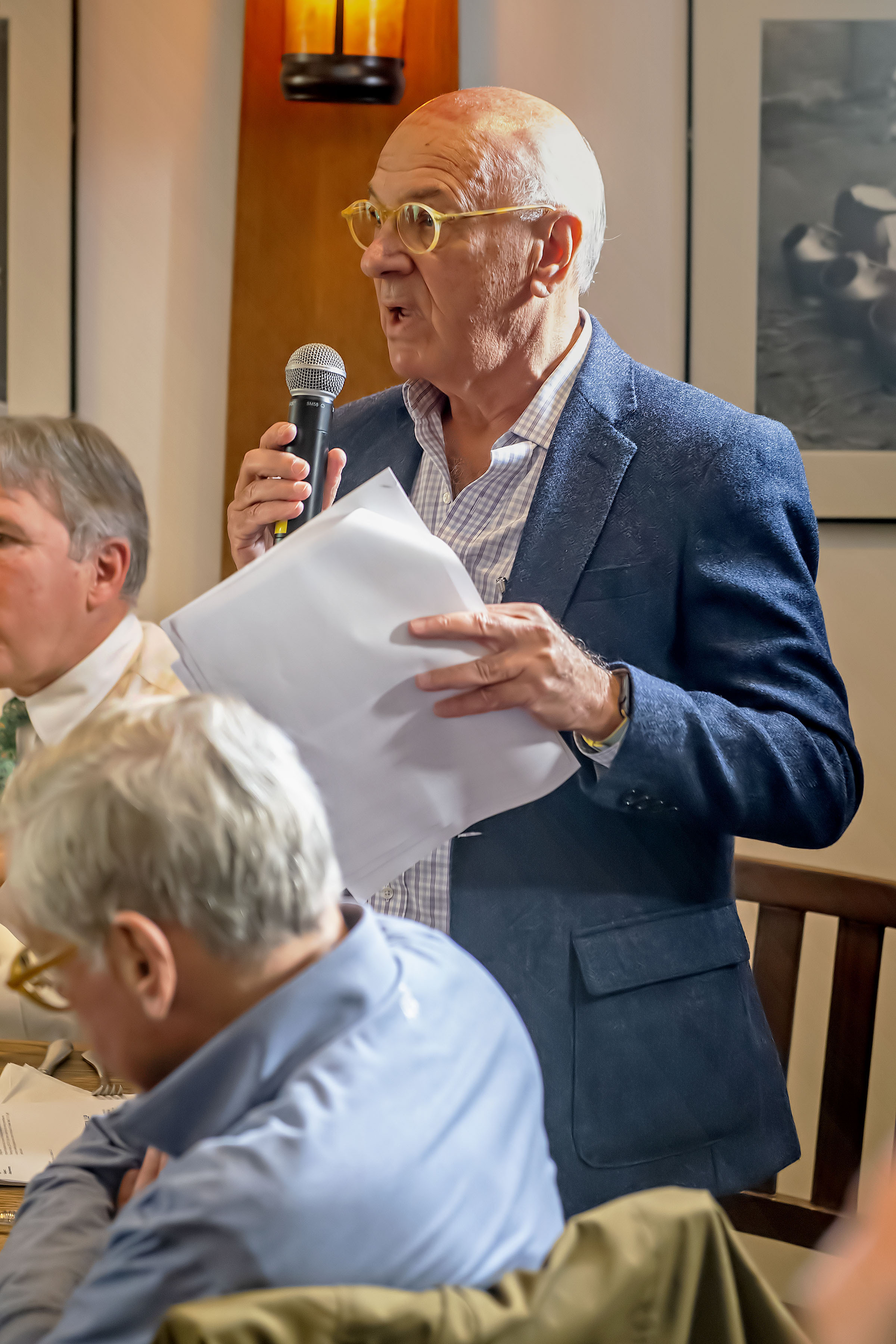 Village resident Leonard Ackerman spoke during The Press Sessions: Affordable Housing event held at Rowdy Hall in East Hampton on Thursday, October 24.   MICHAEL HELLER
