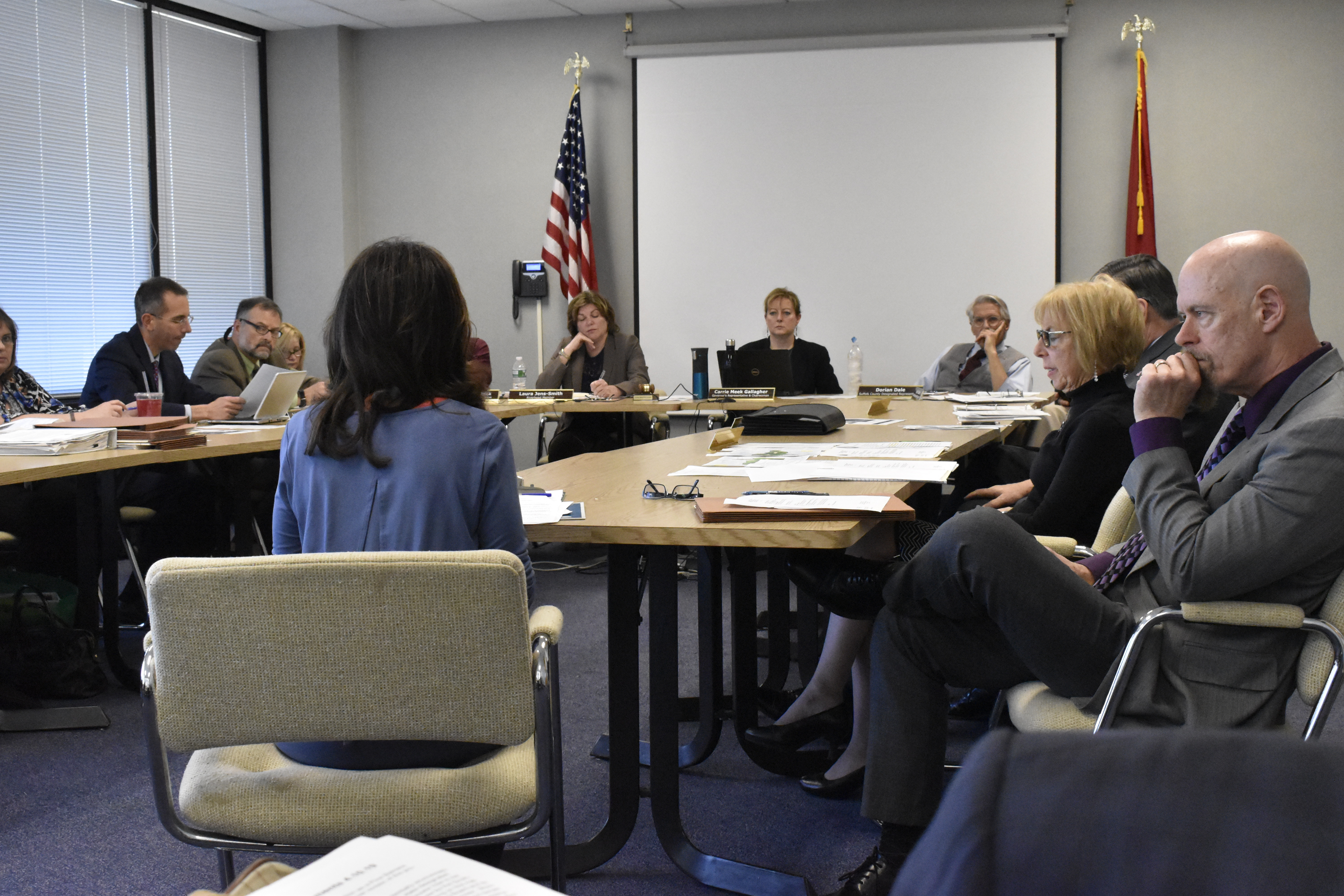 Members and staff of the Central Pine Barrens Commission at a recent meeting. PRESS FILE