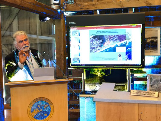 Coastal engineering consultant Aram Terchunian detailed the costs and community reaction to plans to nourish the beaches in Montauk in 2021 for the East Hampton Town Board.