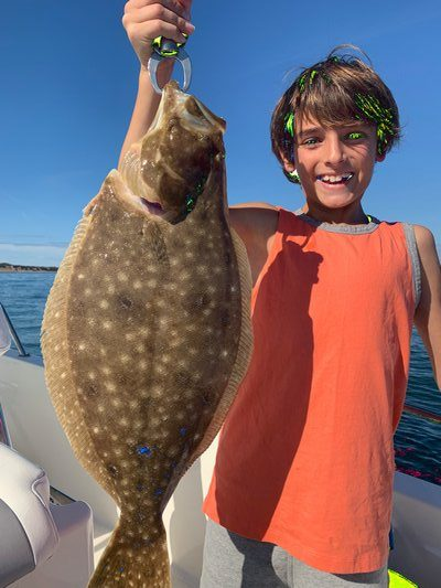 After weeks of unsettled seas that hampered fluke fishing, last Sunday of the season treated a lot of anglers, like Taylor Baratta, very well.  Joe Baratta