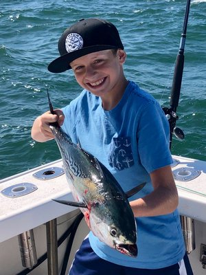 Brayden Fromm got in on the light tackle fishing action with false albacore off Montauk this month.
