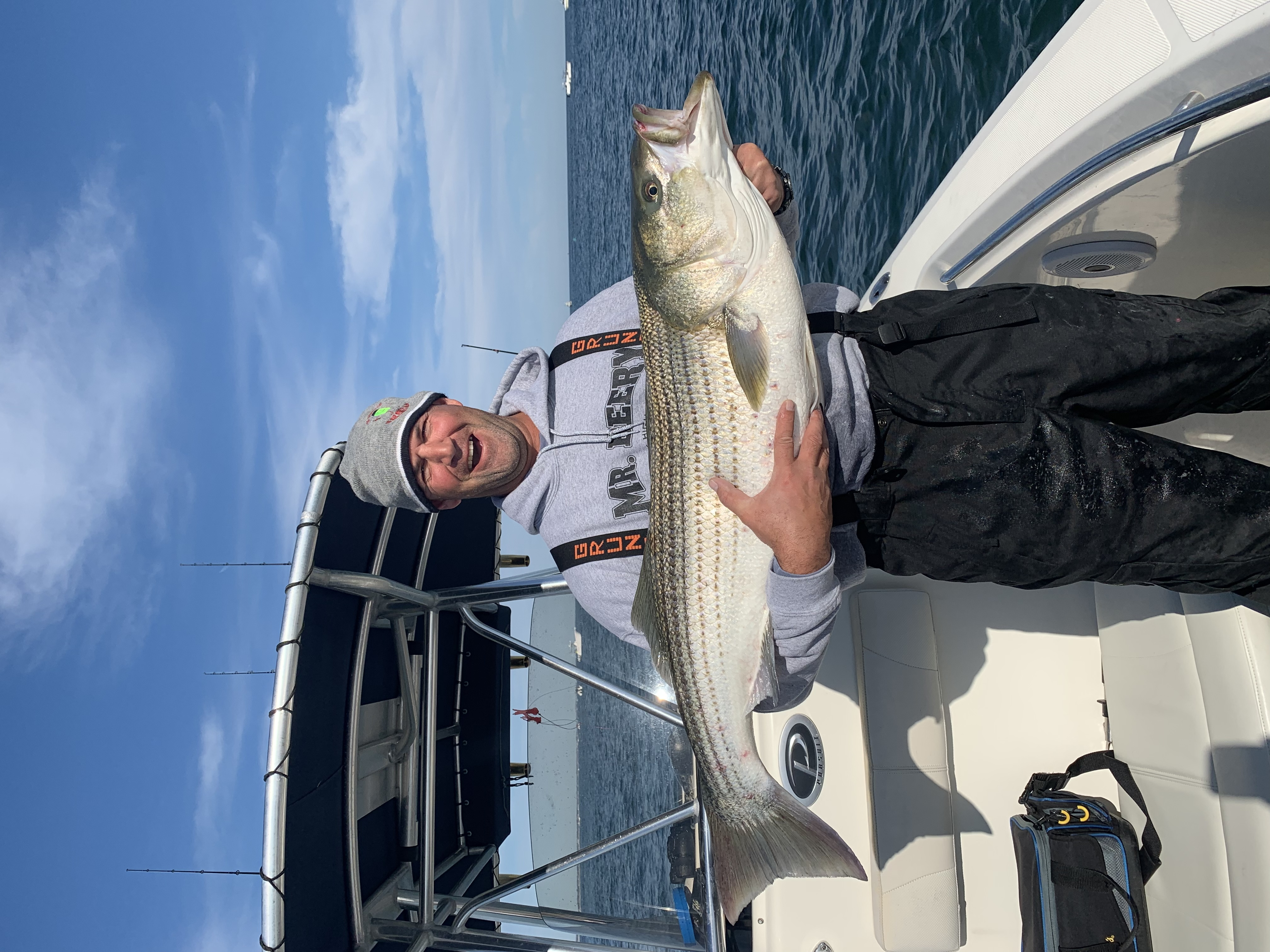 Chris Capalbo and a lot of anglers stumbled onto red-hot fishing for big striped bass outside Shinnecock Inlet over the weekend.