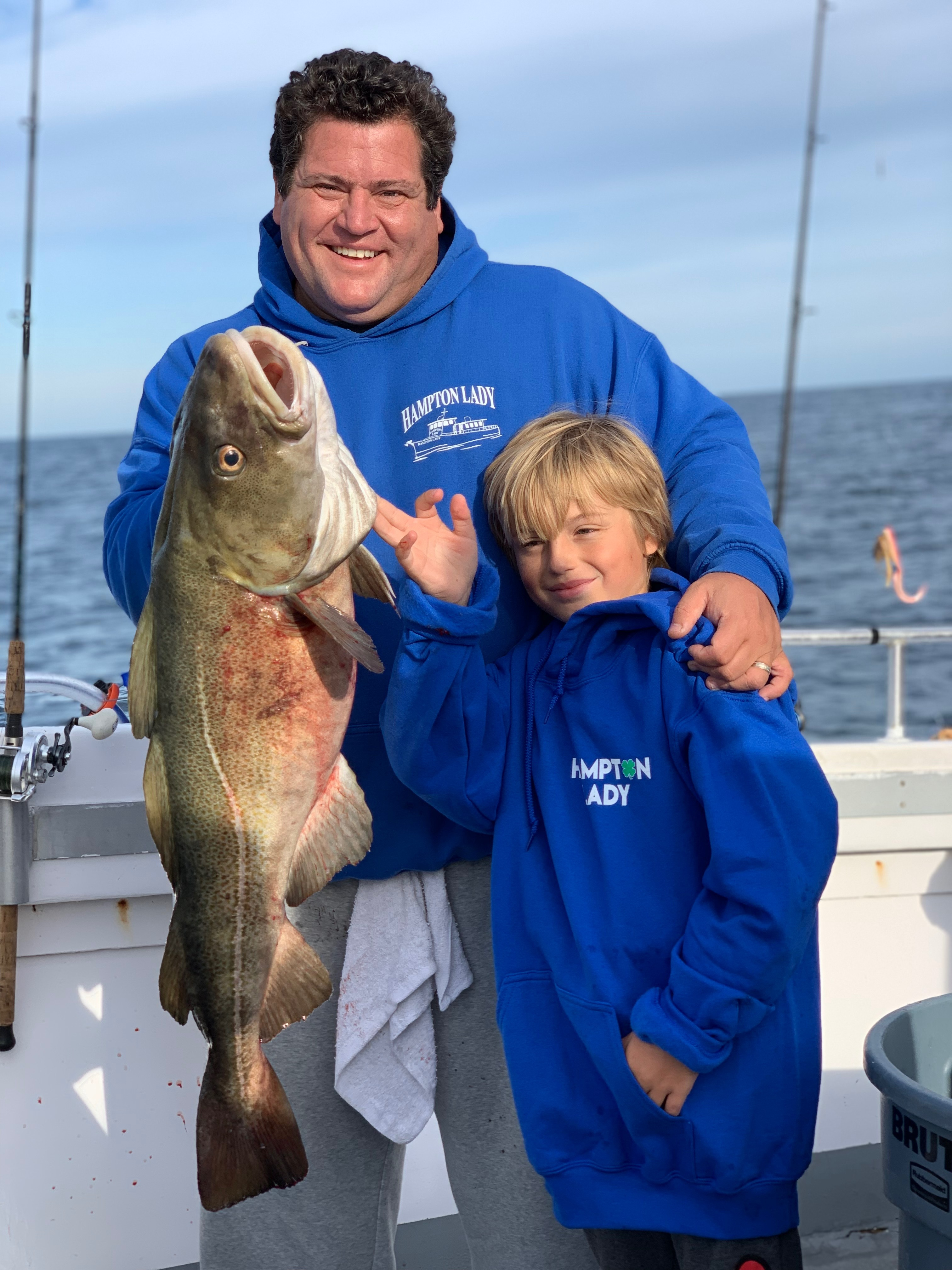 John and Nicholas Bracco decked one of the first big cod of the fall aboard the Hampton Lady last week.