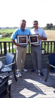 Tim Garvin, left, and Steve Luerssen from South Fork Country Club in Amagansett captured the Met PGA Senior-Junior Championship which was played at South Fork on October 2. Garvin, the head professional at South Fork, and Luerssen, shot a combined 60, or 10-under par.