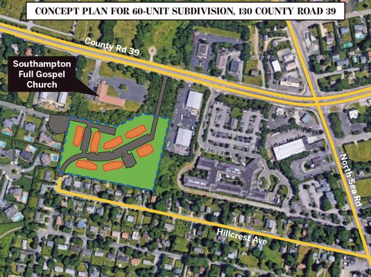 The concept plan a 60-unit affordable housing apartment complex behind the Southampton Full Gospel Church on County Road 39 in Southampton.