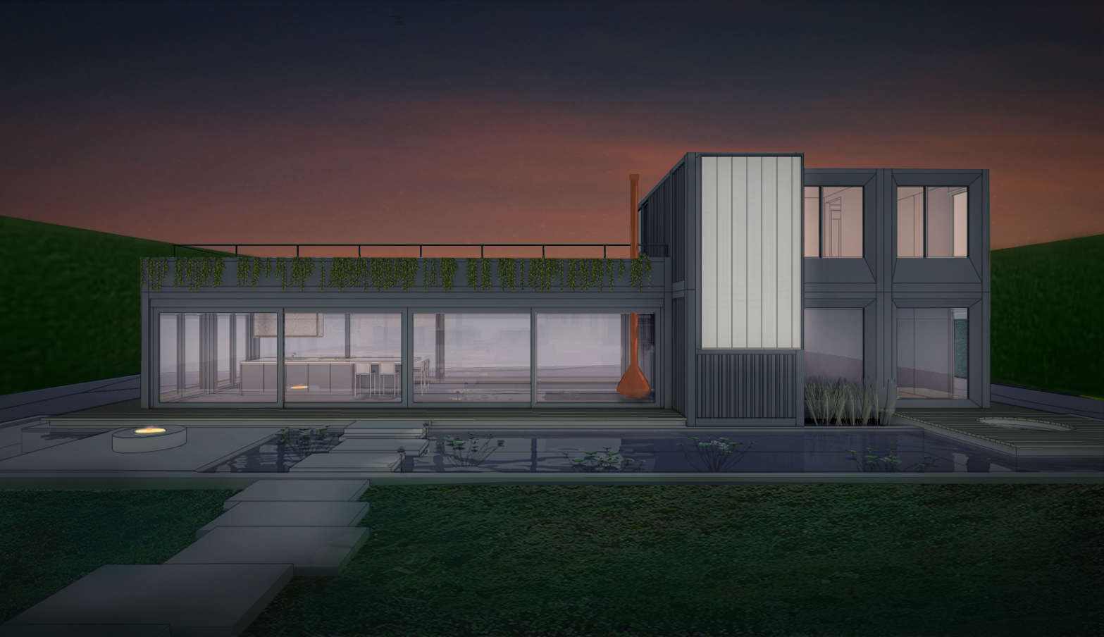 Ammor Architecture LLP's rendering of the modern home under construction at 13 Egypt Lane using shipping containers.