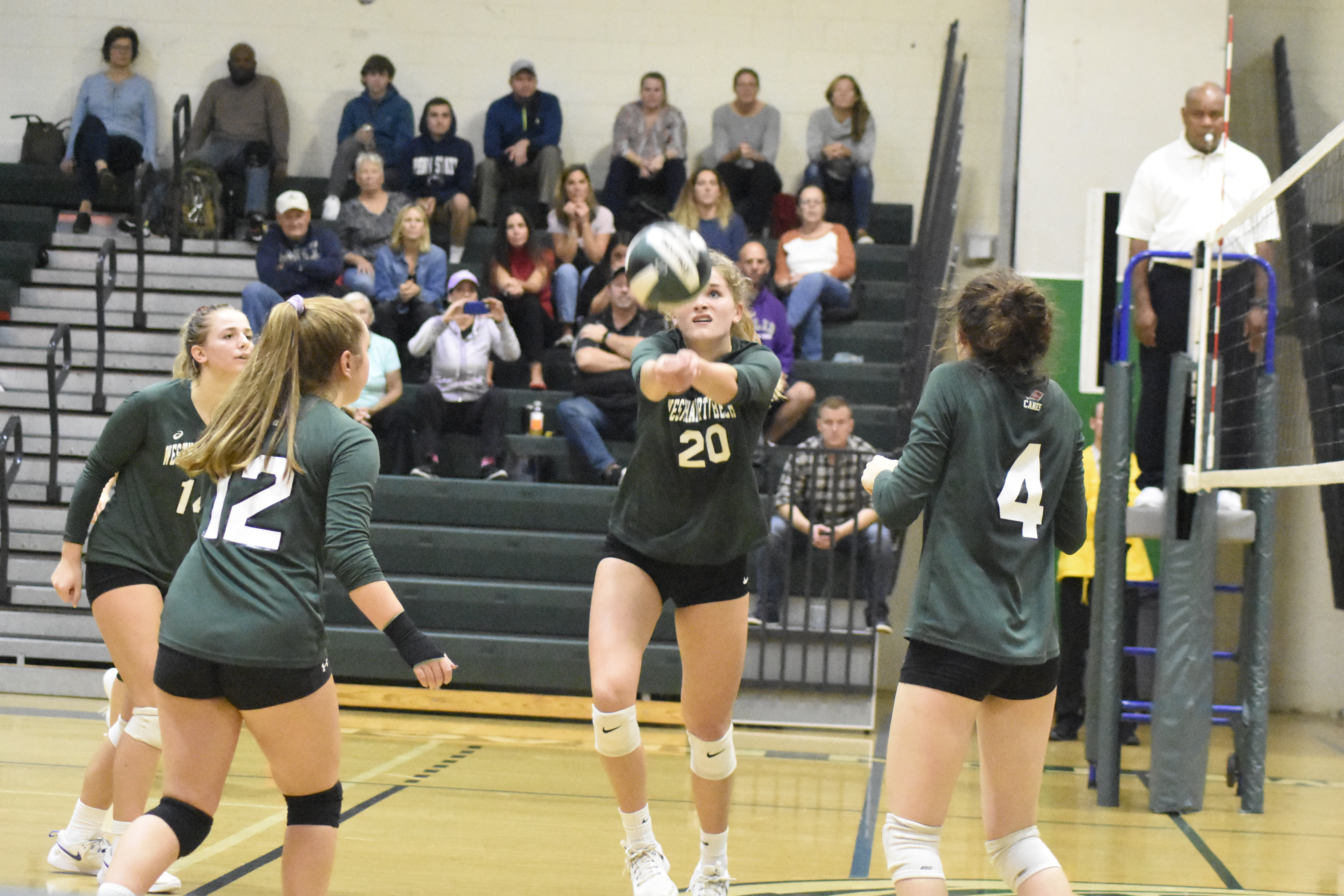 Sophomore Emmie Koszalka gets to the ball.