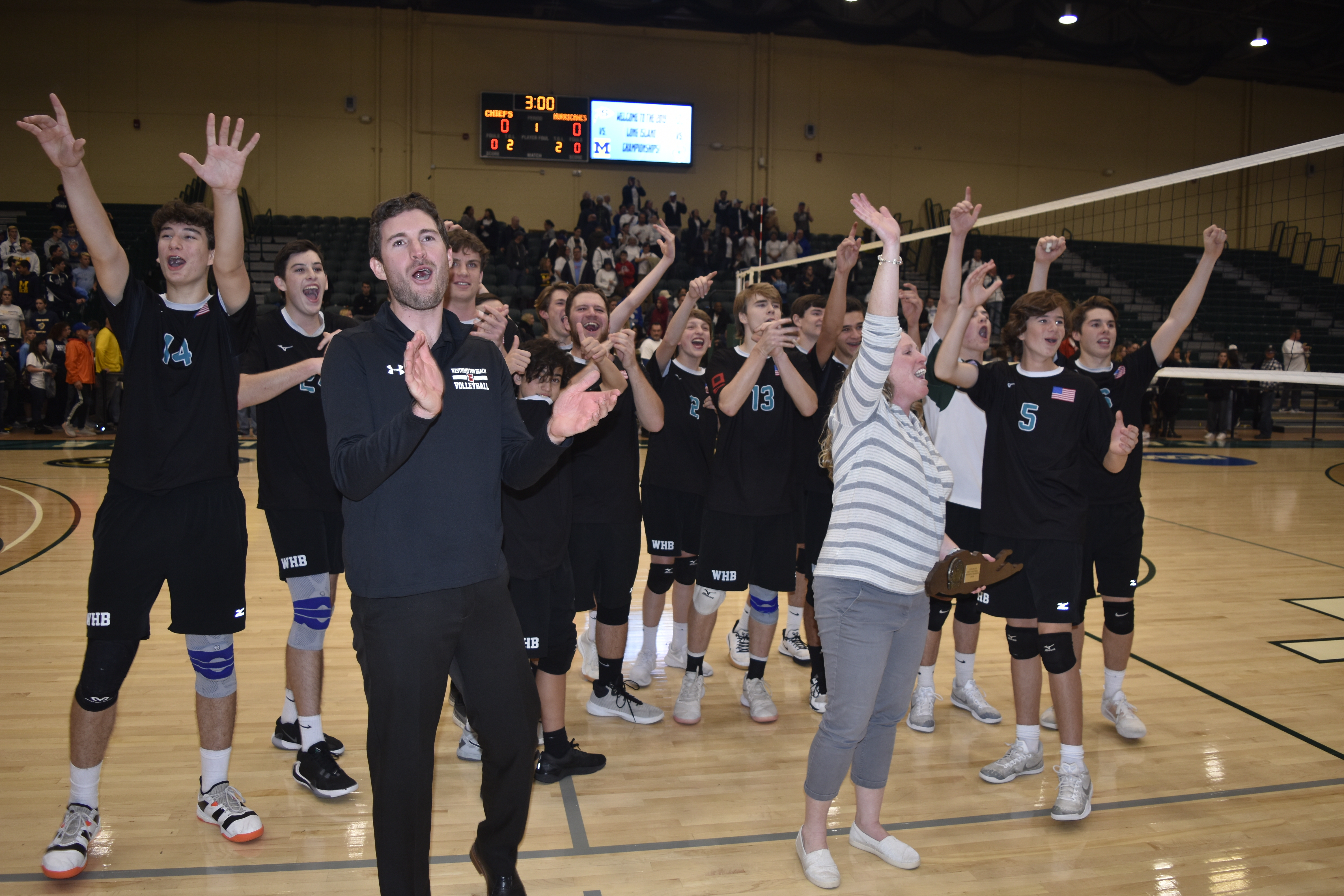 The Westhampton Beach boys volleyball team thanks the community for its support after winning the Long Island Division II Championship on Tuesday night.