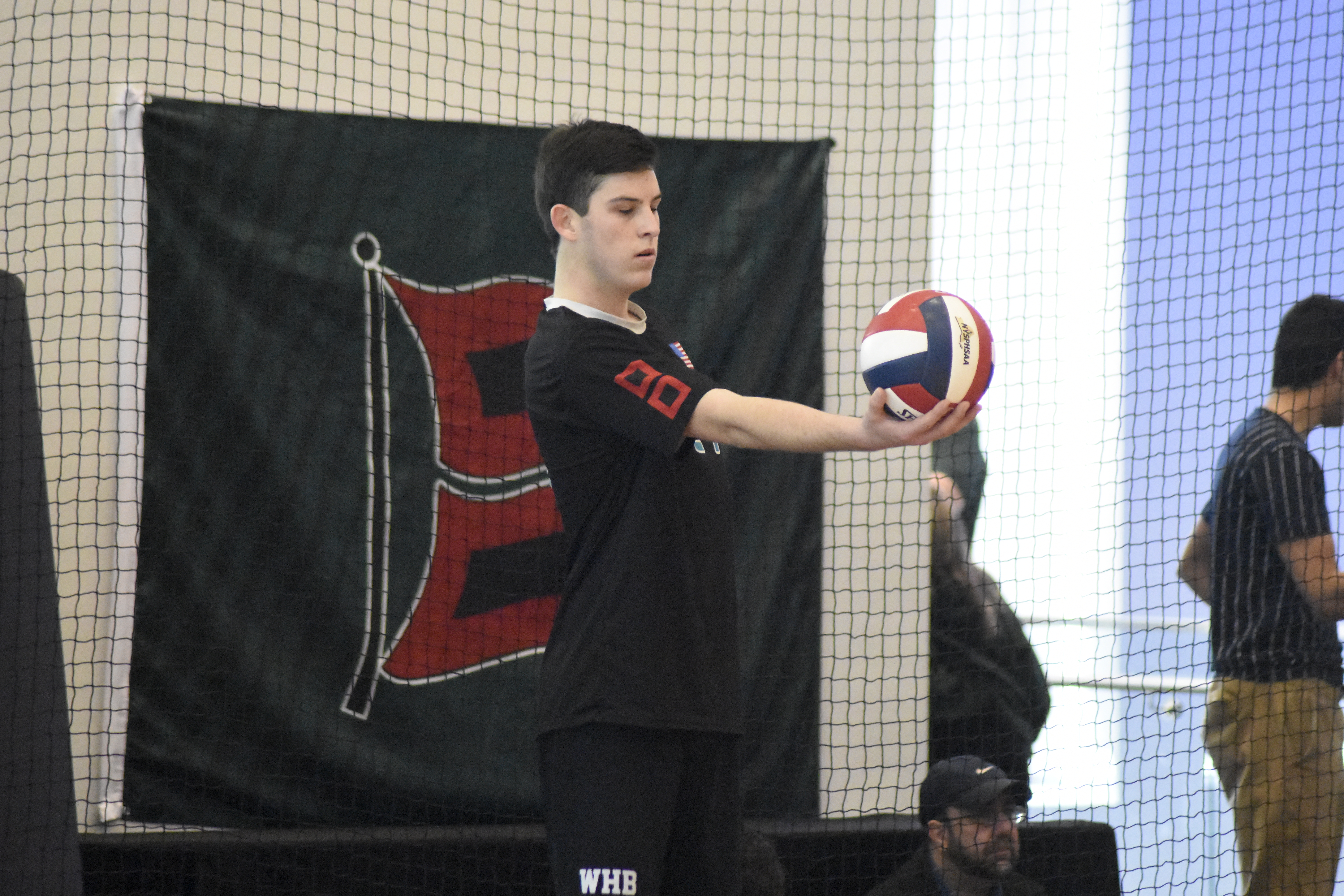 Junior Ryan Barnett's strong serving in the second game fueled a short rally for Westhampton Beach in the match against Jamesville-DeWitt.