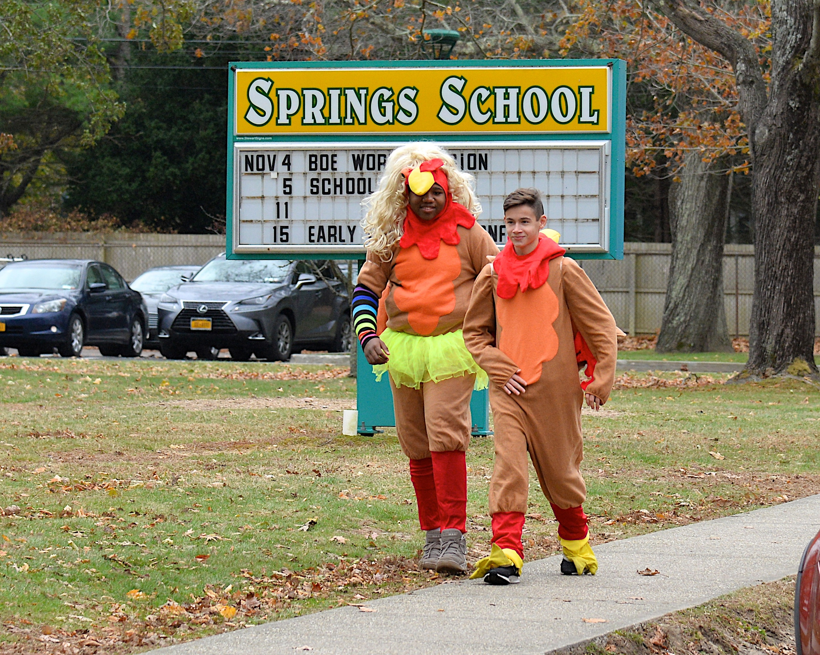 Springs School students and staff bust out the door on Monday morning for the Turkey Trot, to raise money for the school's swim program at the YMCA. KYRIL BROMLEY