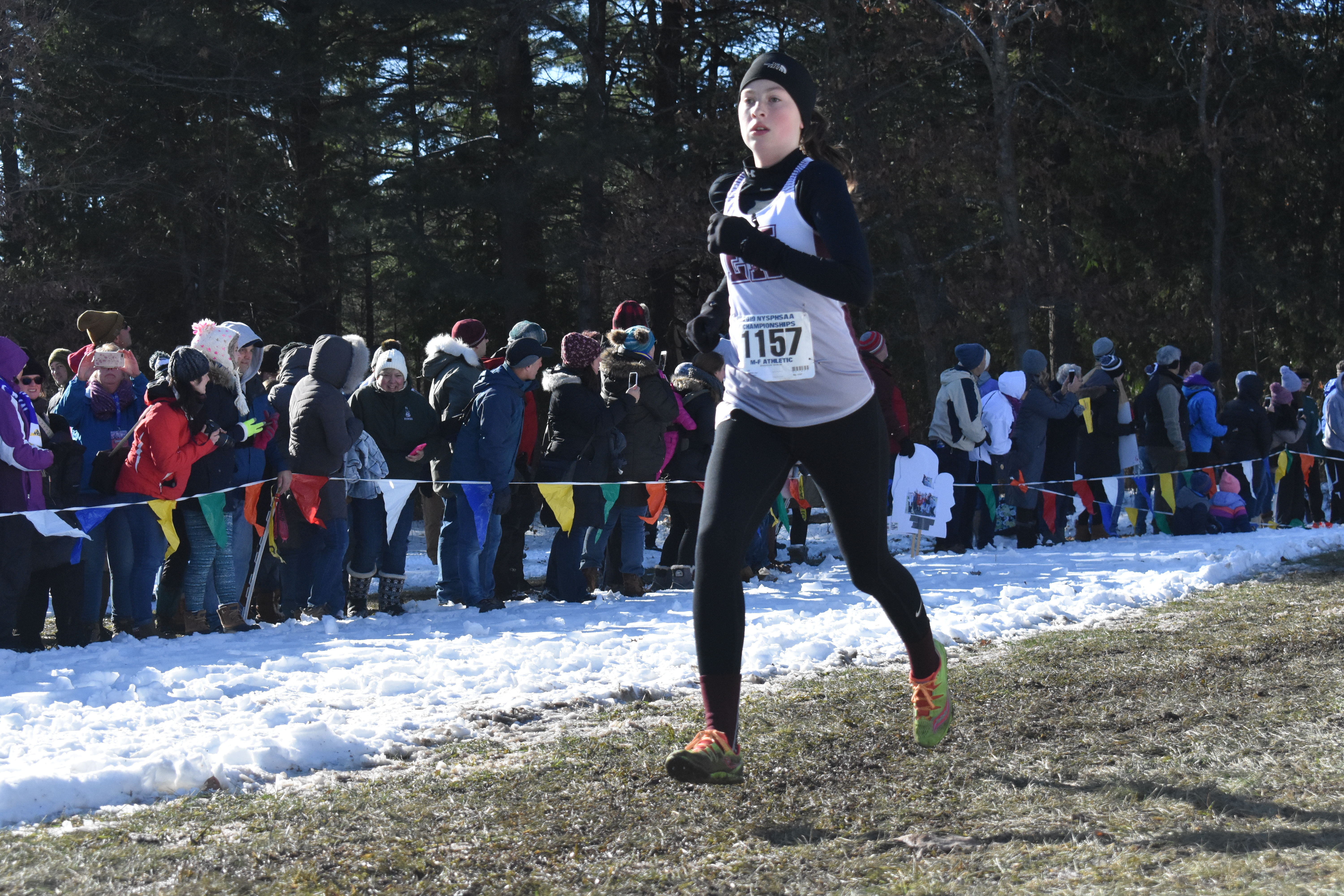 Junior Ava Engstrom was the first East Hampton runner to cross the finish line in the Class B state race on Saturday.