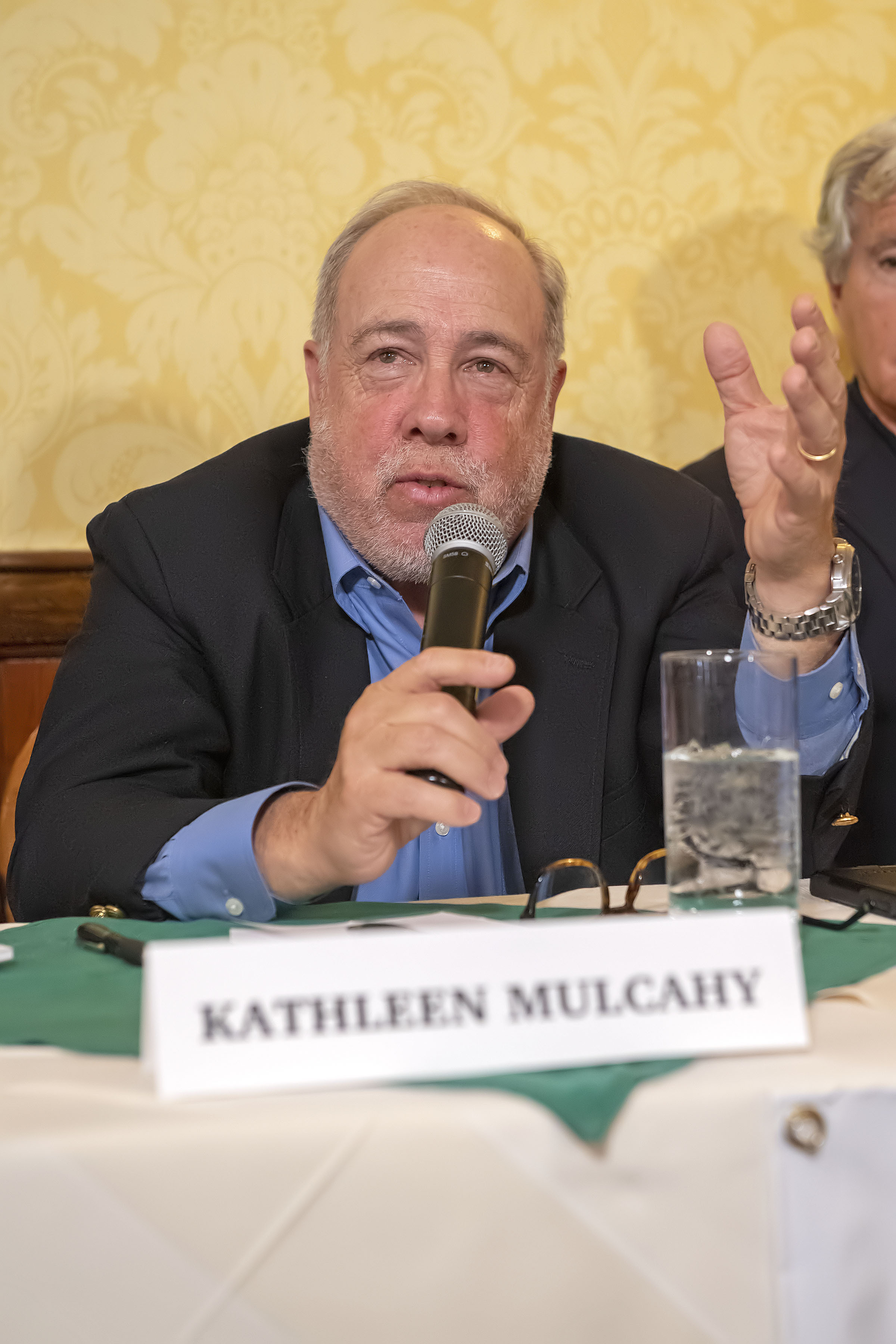 Panelist Edmund Hollander speaks during the Express Sessions - Sag Harbor Public Spaces event at the American Hotel in Sag Harbor on Friday.     MICHAEL HELLER