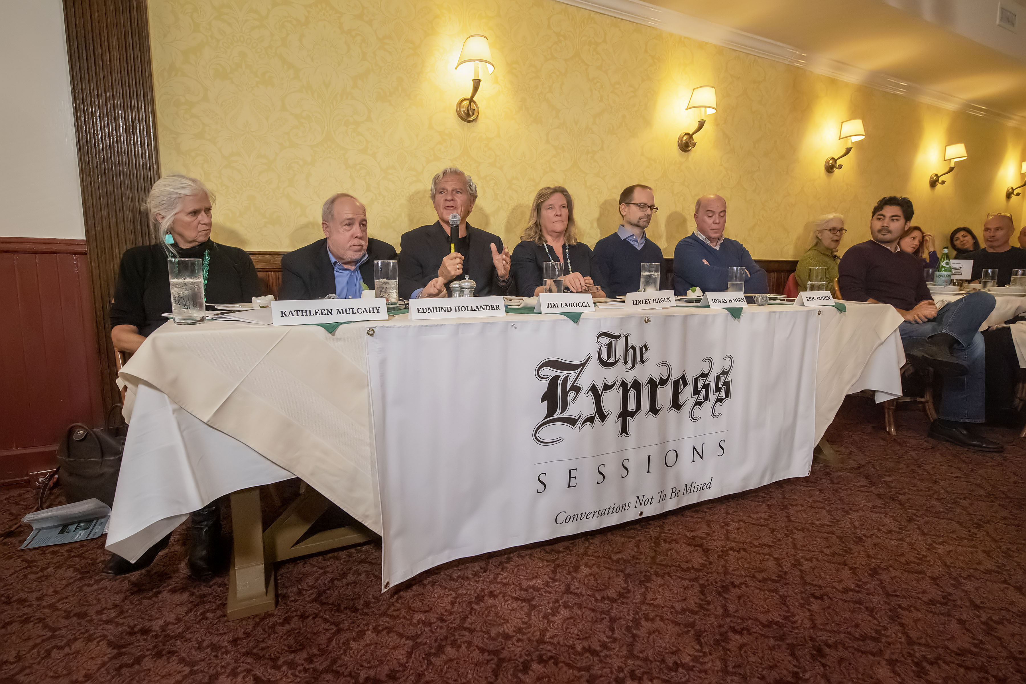 The panelists during the Express Sessions - Sag Harbor Public Spaces event at the American Hotel in Sag Harbor on Friday.     MICHAEL HELLER