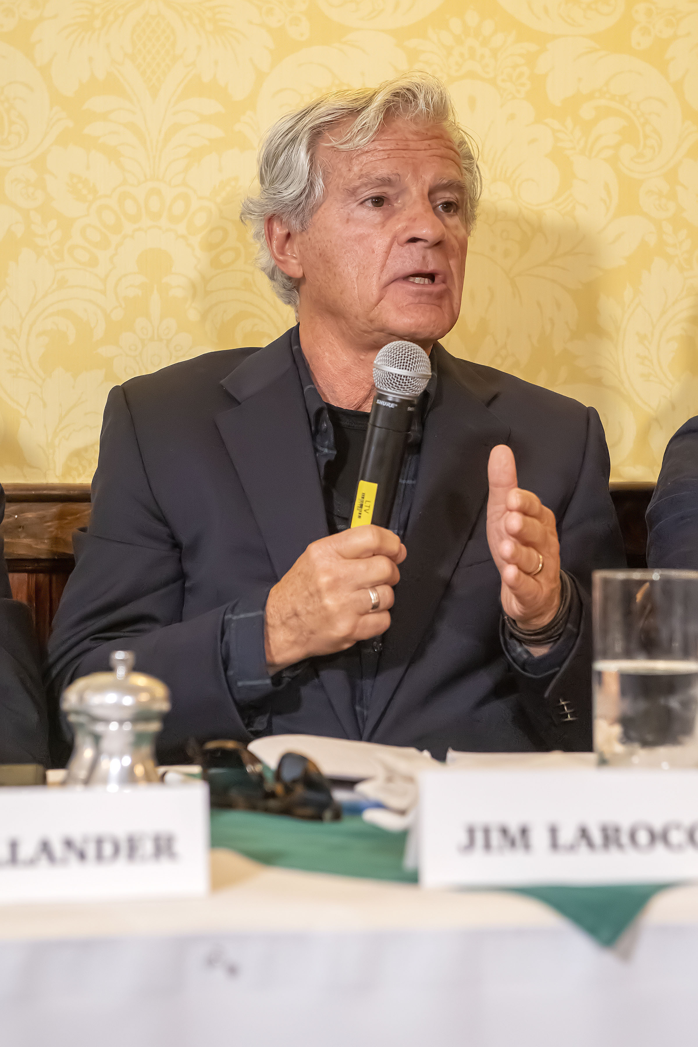 Panelist Jim Larocca speaks during the Express Sessions - Sag Harbor Public Spaces event at the American Hotel in Sag Harbor on Friday.    MICHAEL HELLER