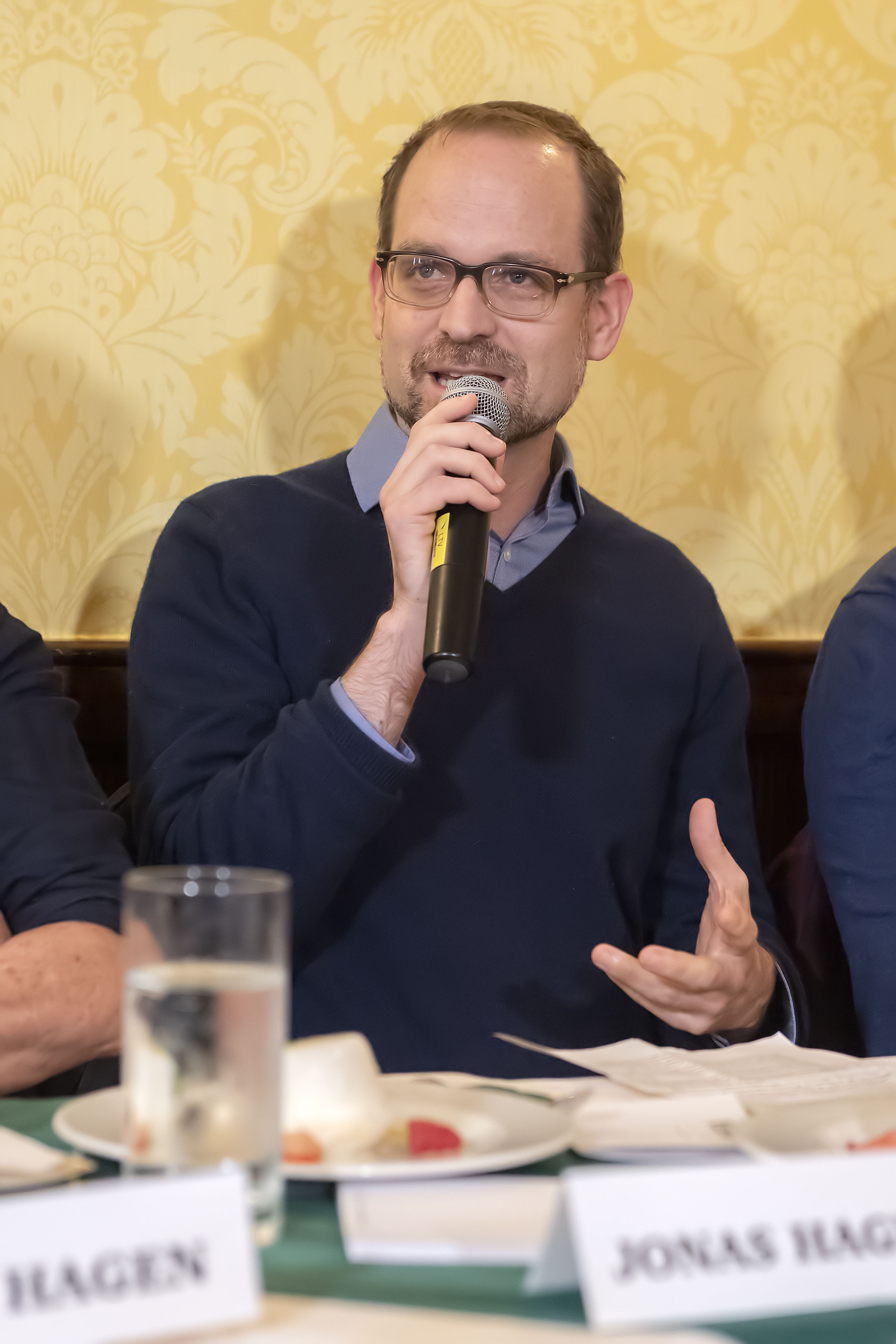 Panelist Jonas Hagen speaks during the Express Sessions - Sag Harbor Public Spaces event at the American Hotel in Sag Harbor on Friday.    MICHAEL HELLER