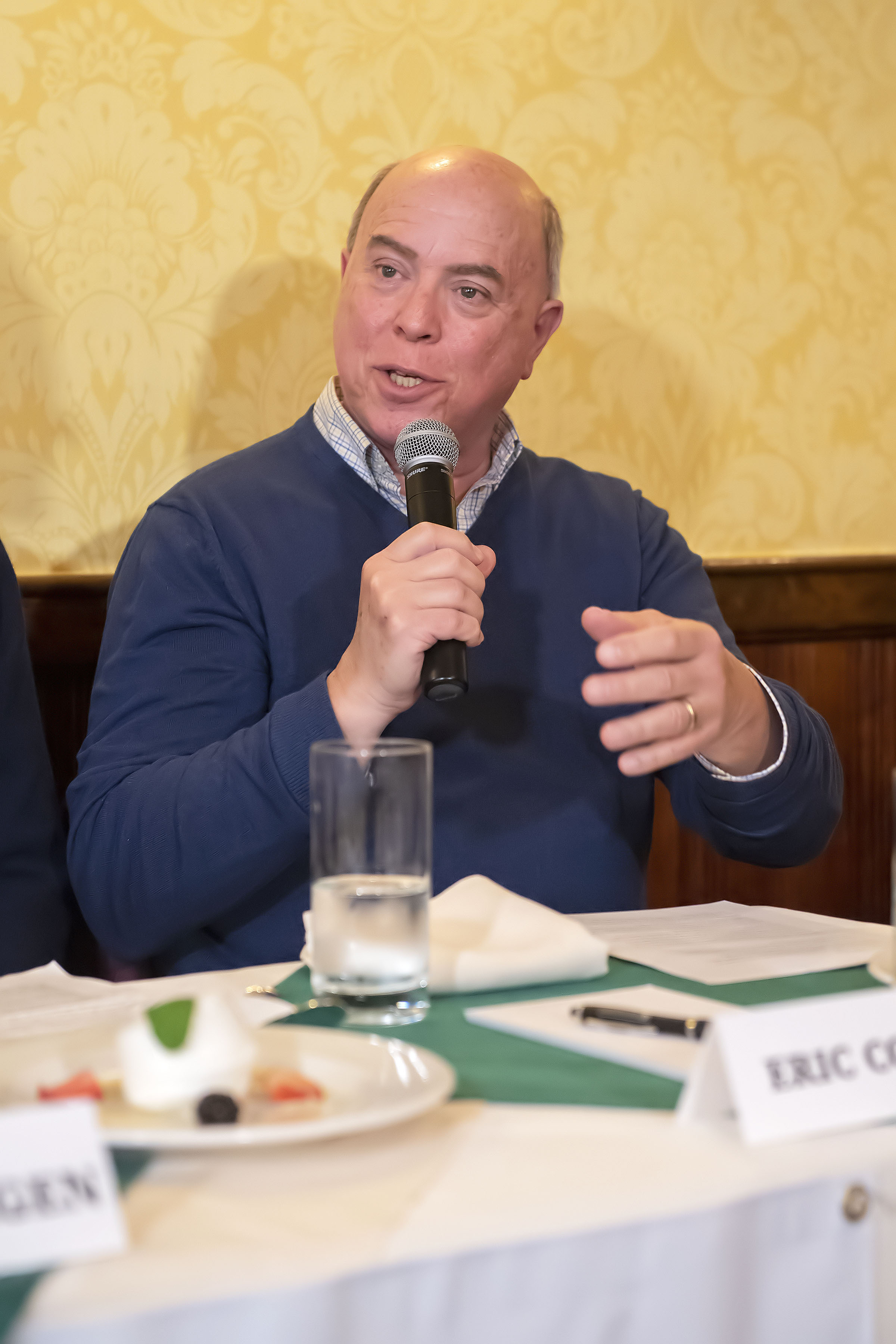 Panelist Eric Cohen speaks during the Express Sessions - Sag Harbor Public Spaces event at the American Hotel in Sag Harbor on Friday.   MICHAEL HELLER