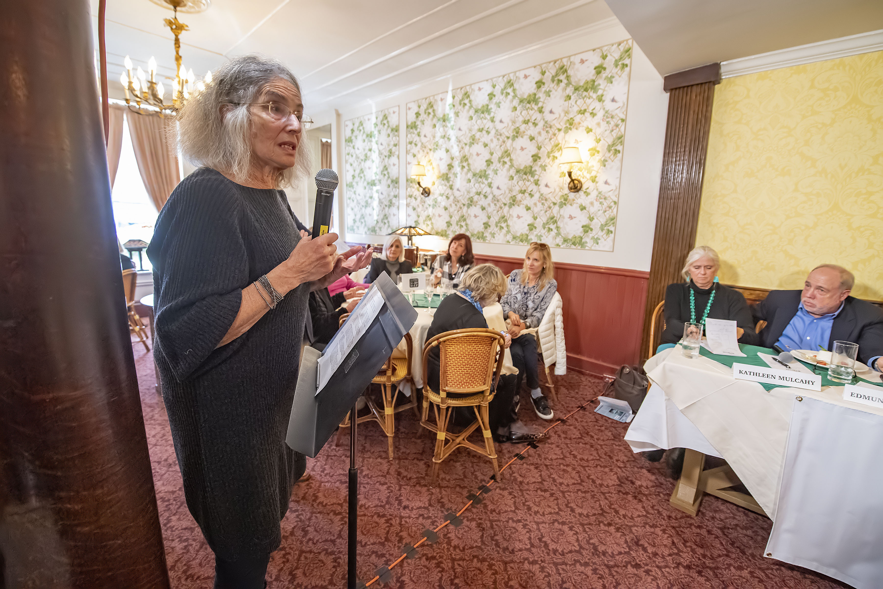 An attendee poses a question to the panel during the Express Sessions - Sag Harbor Public Spaces event at the American Hotel in Sag Harbor on Friday.  MICHAEL HELLER