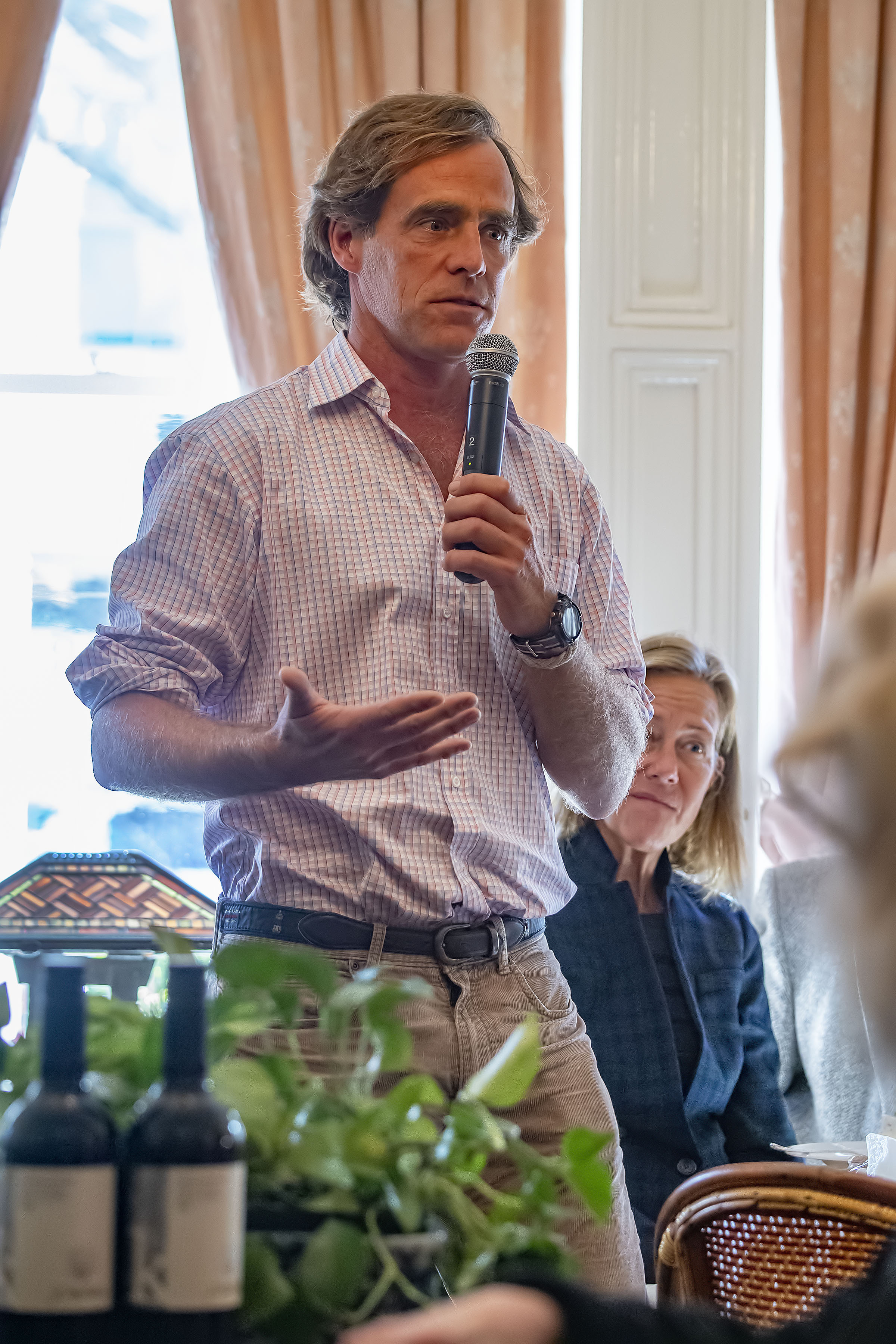 Luke Babcock poses a question to the panel during the Express Sessions - Sag Harbor Public Spaces event at the American Hotel in Sag Harbor on Friday.    MICHAEL HELLER