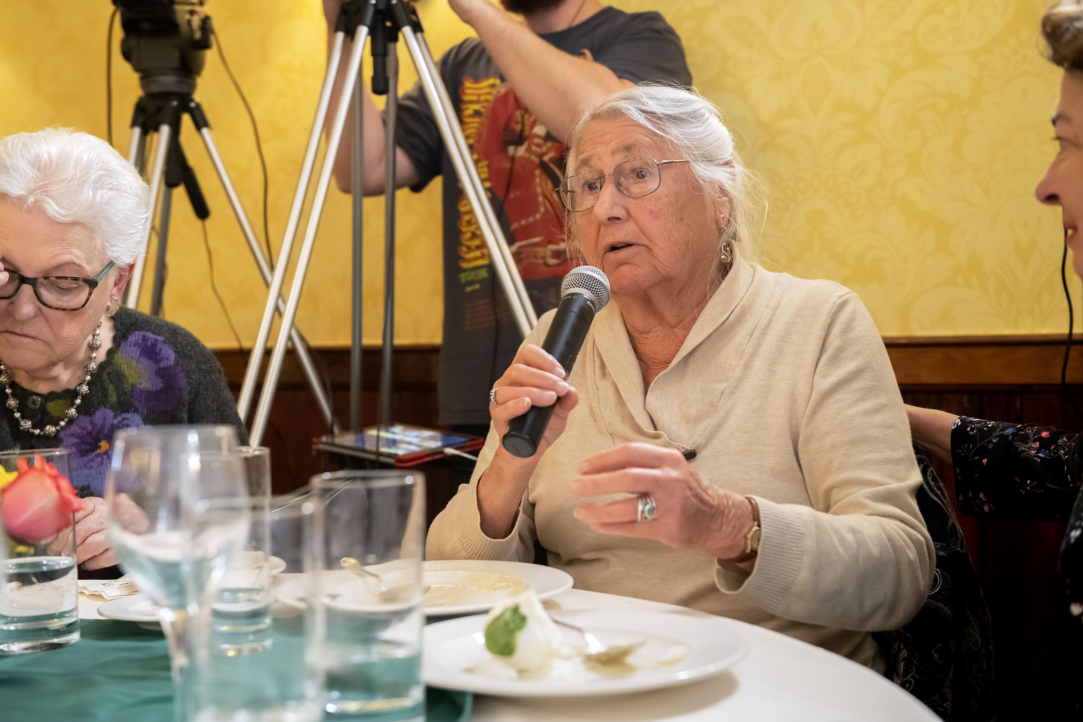 Nada Barry poses a question to the panel during the Express Sessions - Sag Harbor Public Spaces event at the American Hotel in Sag Harbor on Friday.  MICHAEL HELLER