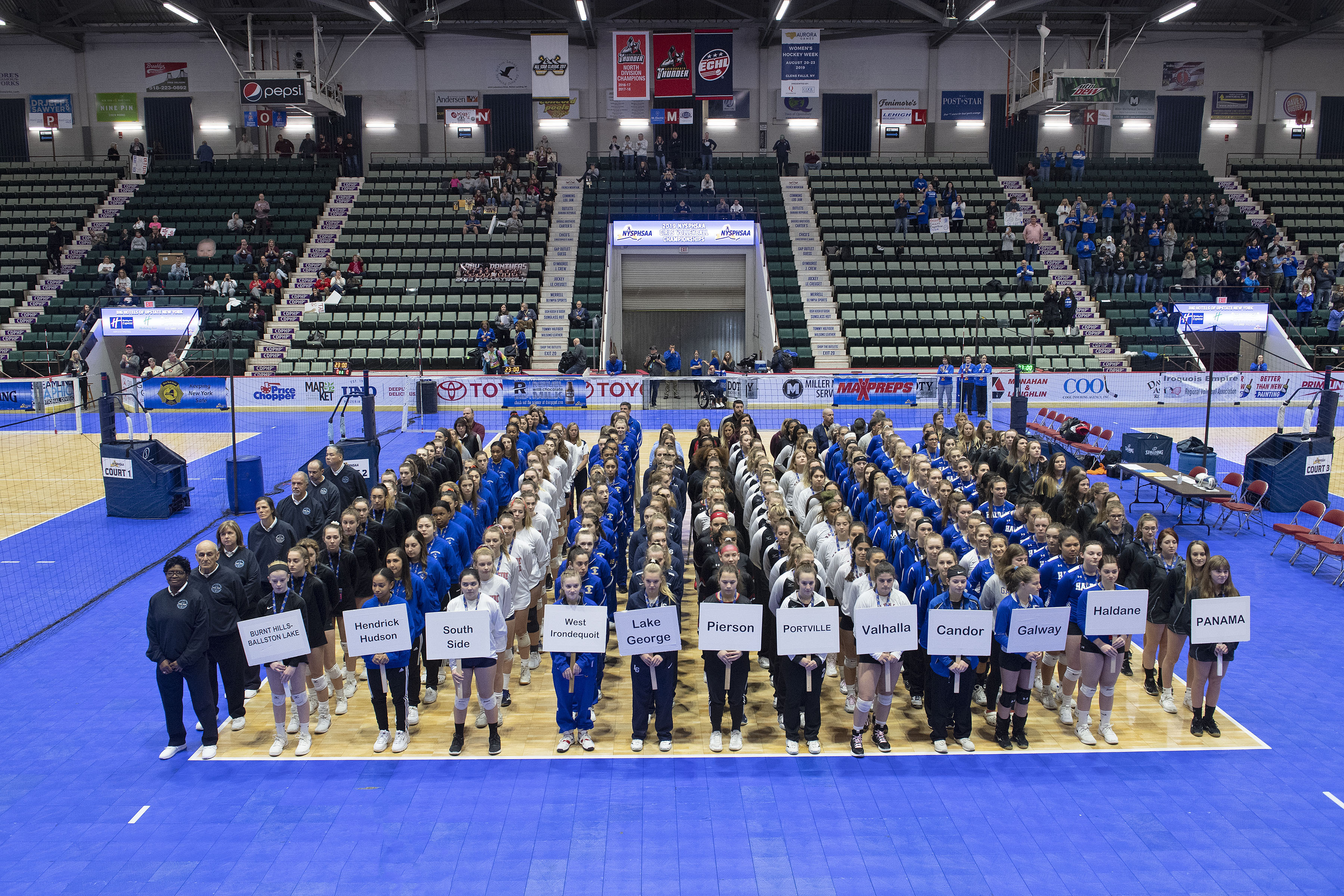 The Pierson/Bridgehampton girls volleyball team during the opening ceremony of the New York State Championships at Cool Insuring Arena in Glens Falls on Saturday morning.