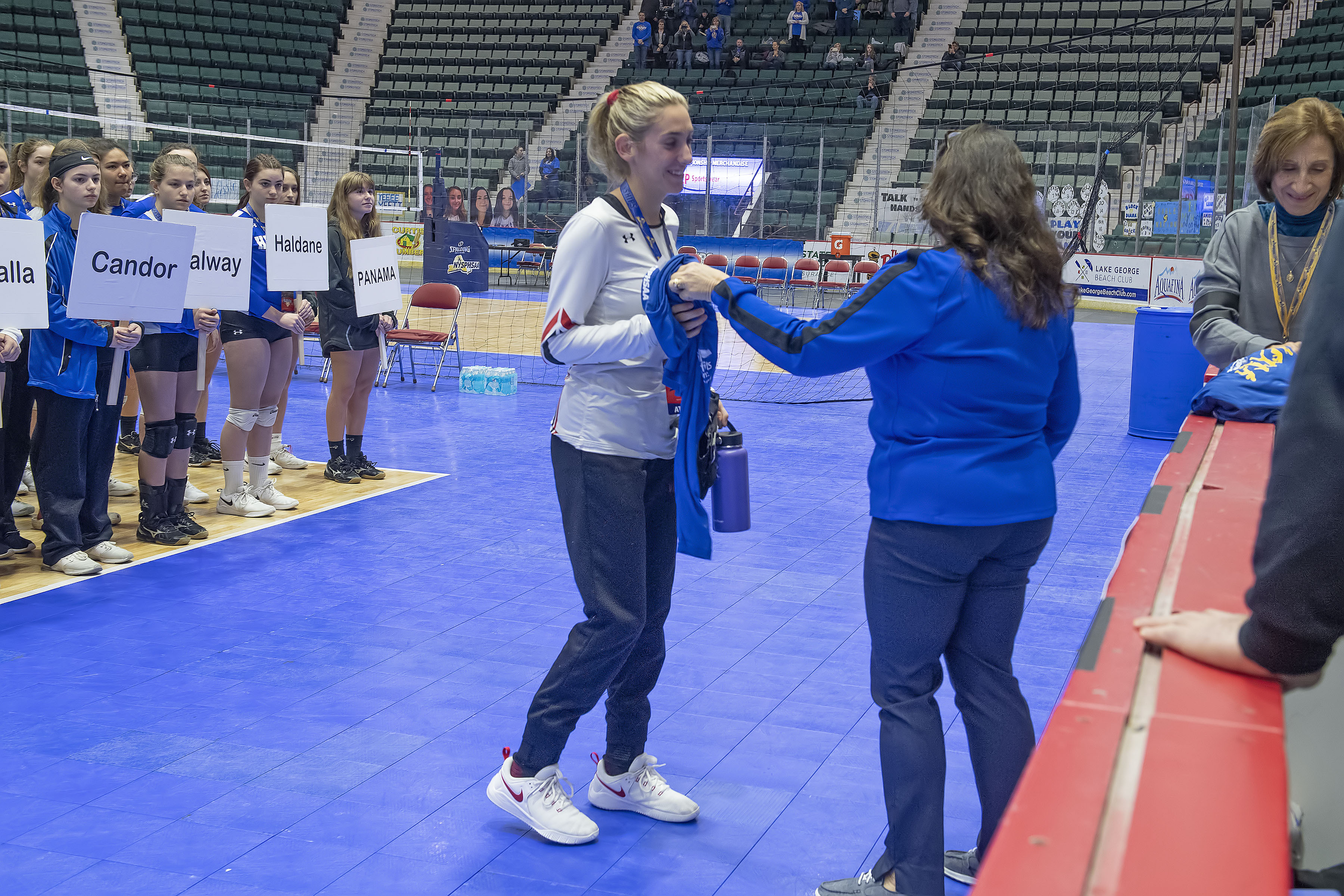 Pierson's Olivia Cassone receives the State Sportsmanship Award during Saturday morning's opening ceremony.