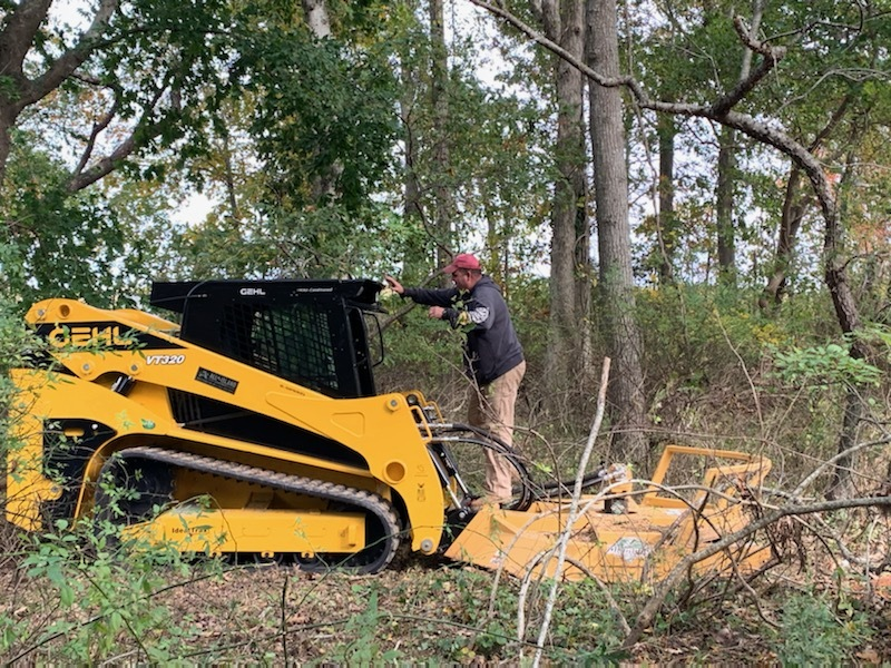 Marilynn Lieberman said the Southampton Town Highway Superintendent and his crews drove a tractor onto her property and began clearing a scenic drainage easement. COURTESY MARILYNN LIEBERMAN