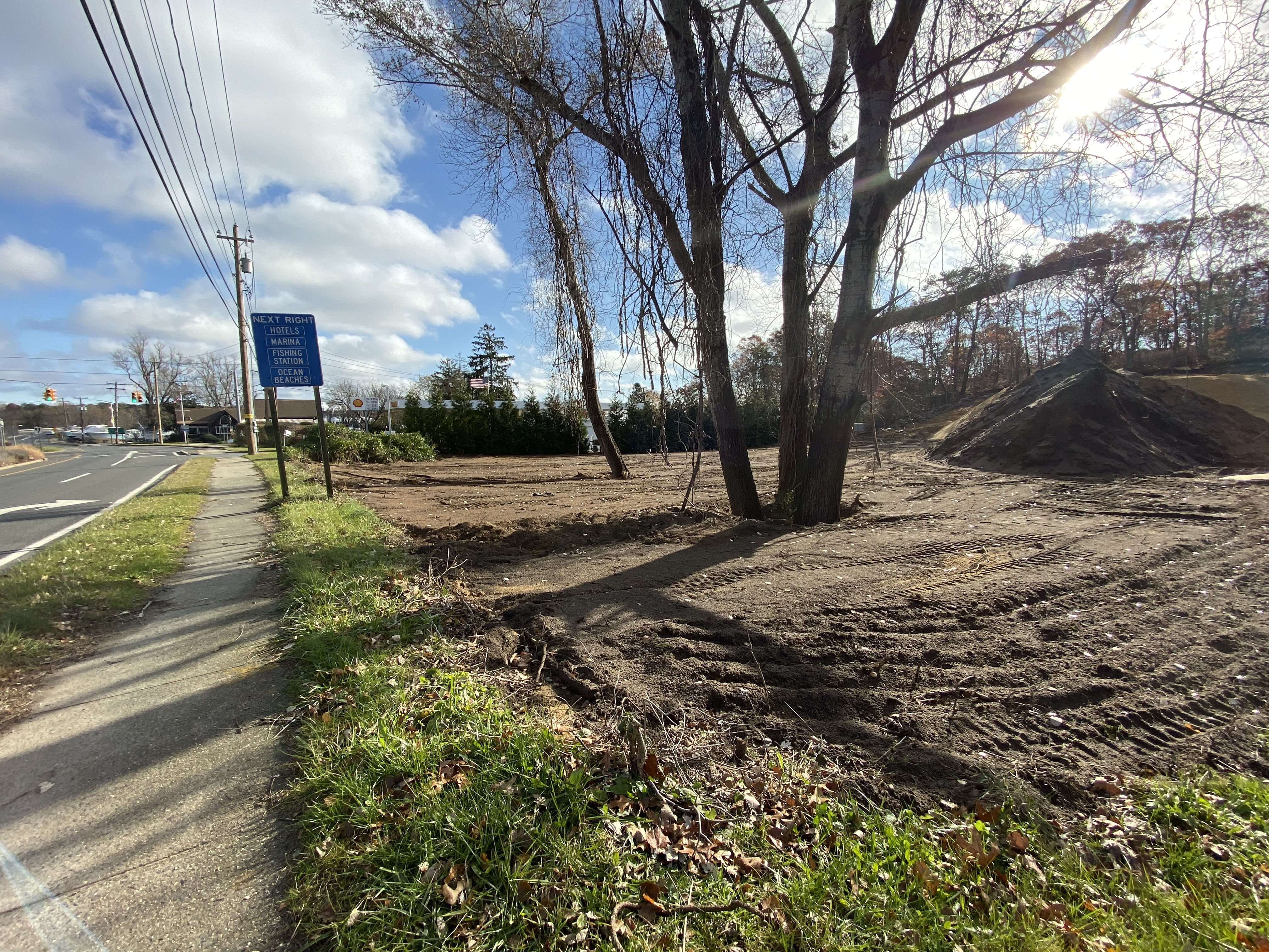 A large swath of land was cleared at a property on East Montauk Highway in Hampton Bays. The Southampton Town Building Inspector issued a stop work order.