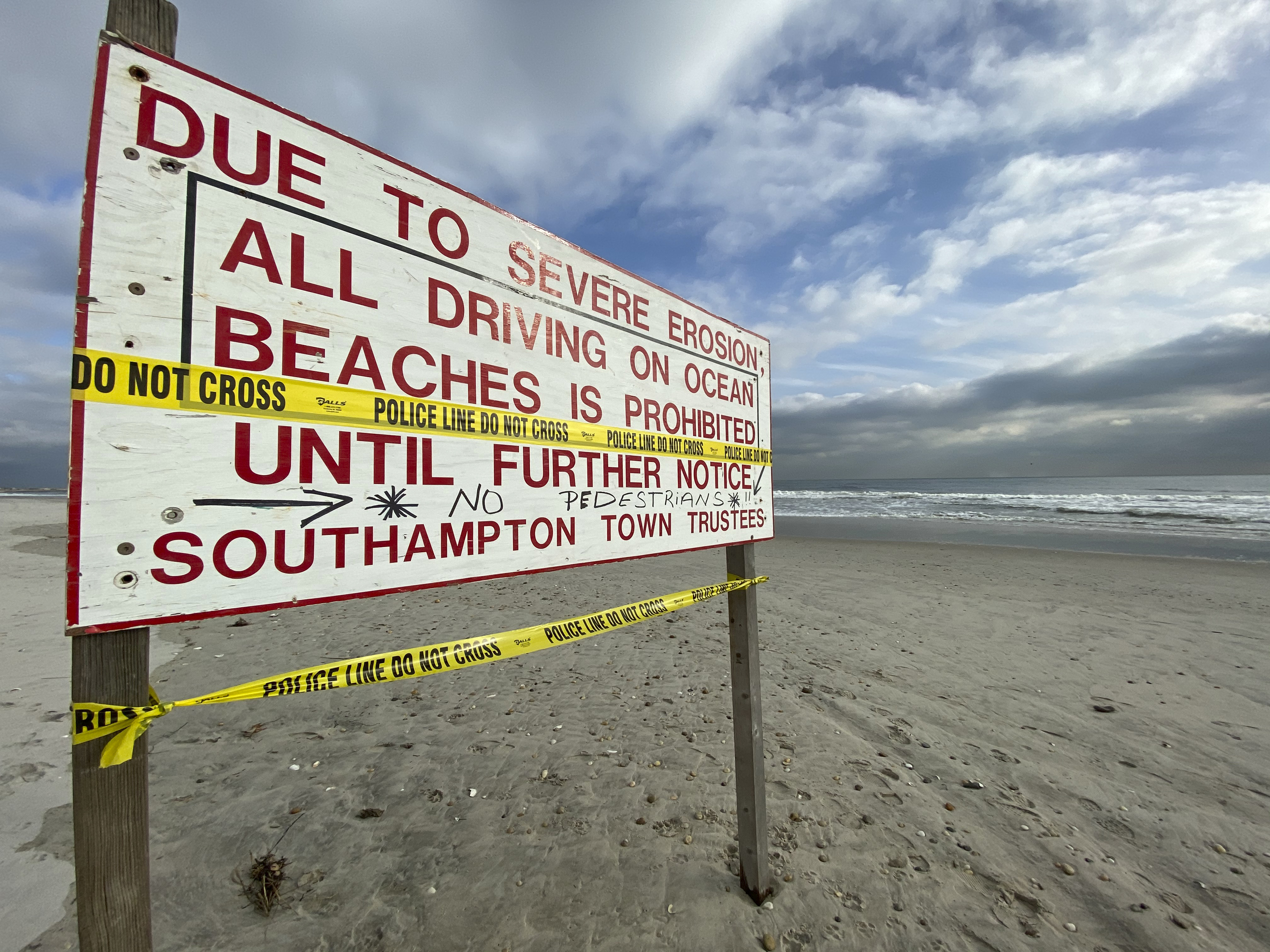 Beach access for vehicles and pedestrians is prohibited east of the Ponquogue Beach Pavilion due to severe erosion. DANA SHAW