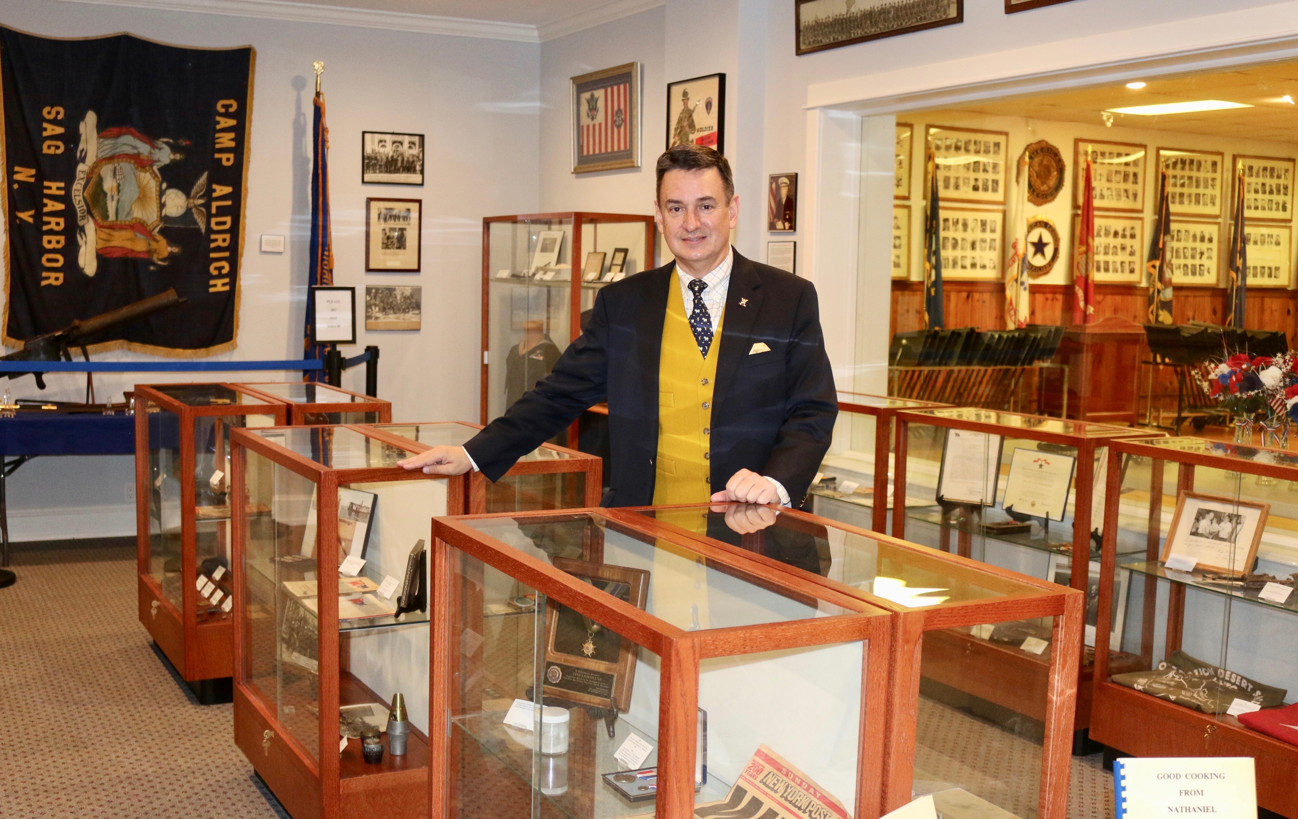 Curator Paul Gerecke at the Sag Harbor American Legion Post's soon-to-open military memorabilia exhibit room.