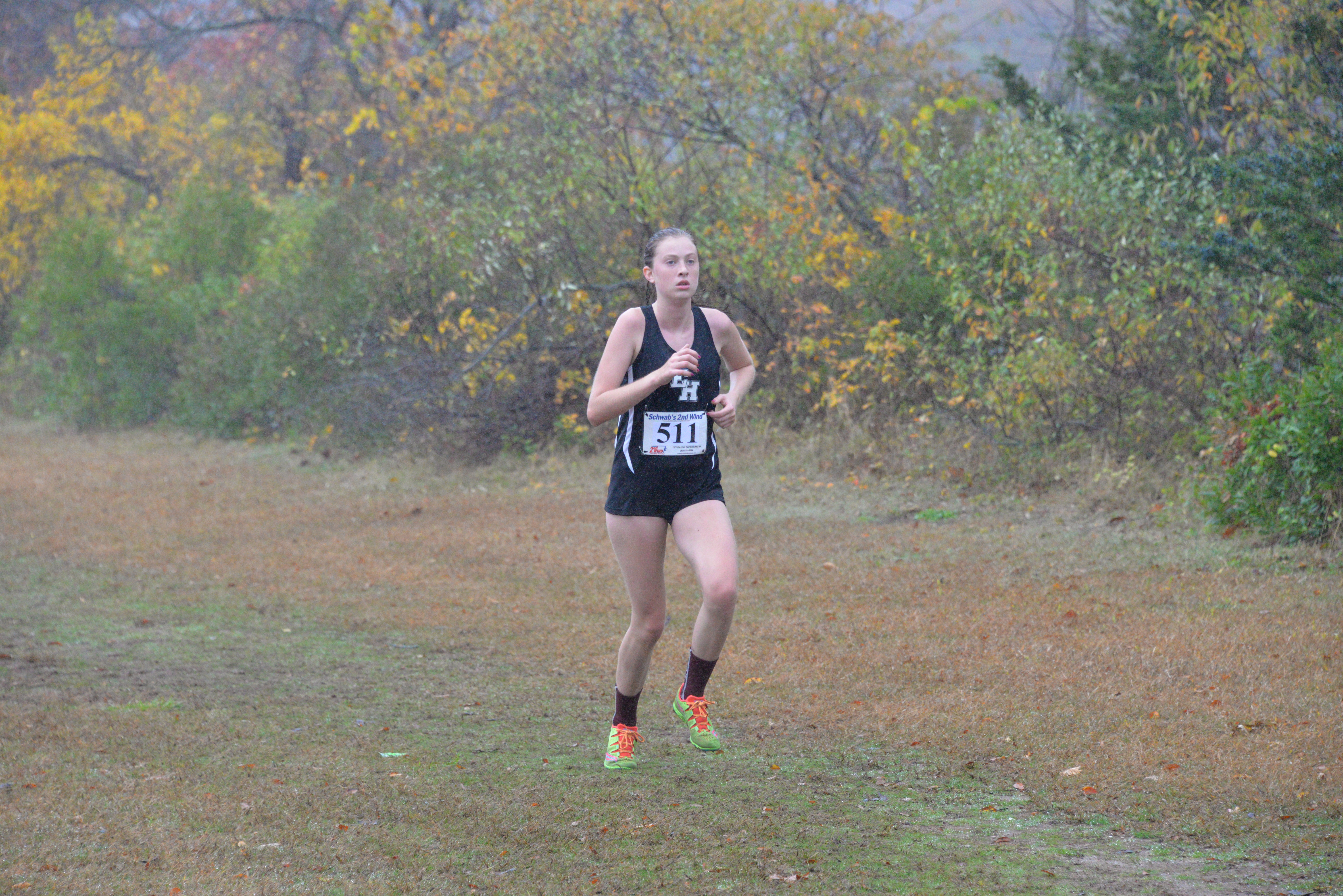 East Hampton junior Ava Engstrom was under the weather at last week's division meet but still put forth a good effort and was the second Lady Bonacker to finish the race.