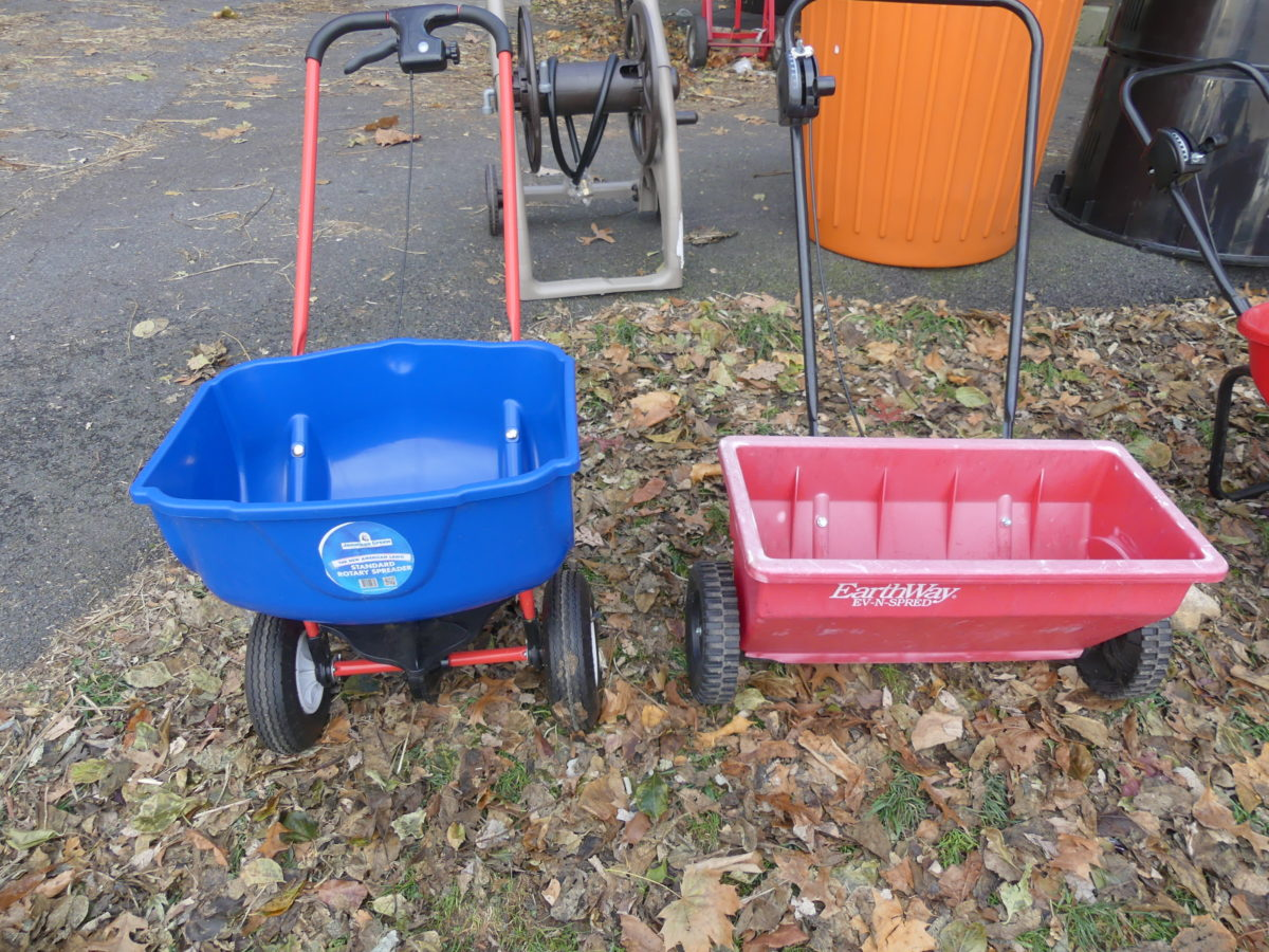 If you don't own a spreader for applying lime (calcium) many garden centers will rent one. Make sure you get a broadcast type (left) and not the drop type (right). Note the spreader pattern when you start and only slightly overlap each pass. ANDREW MESSINGER