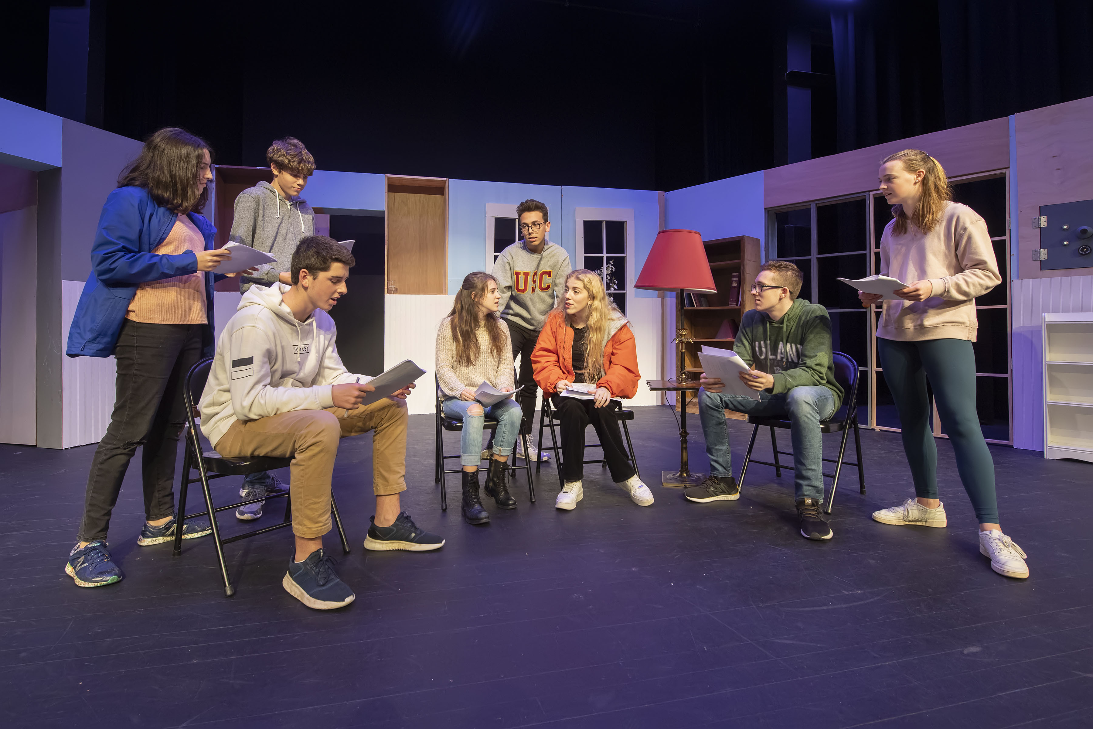 The Pierson High School students practicing for the play.  MICHAEL HELLER