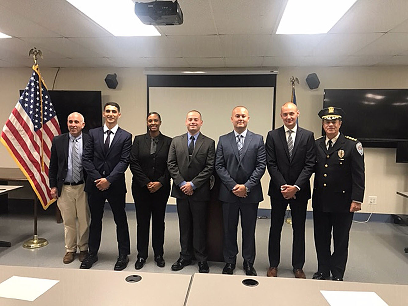 Five new police officers were sworn to the Southampton Town Police Department on Thursday