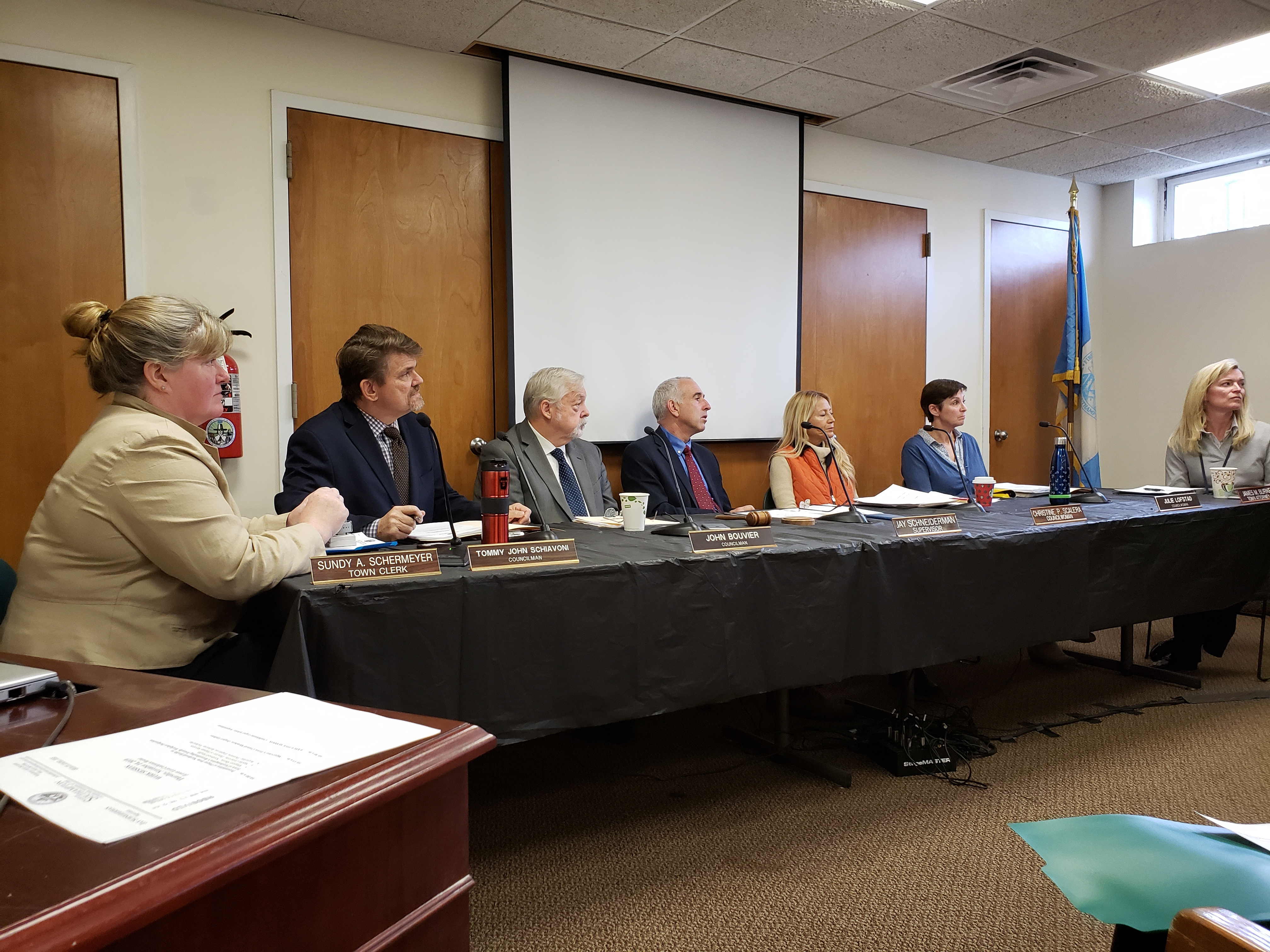 Southampton Town Board members adopted the 2020 budget on November 20. GREG WEHNER