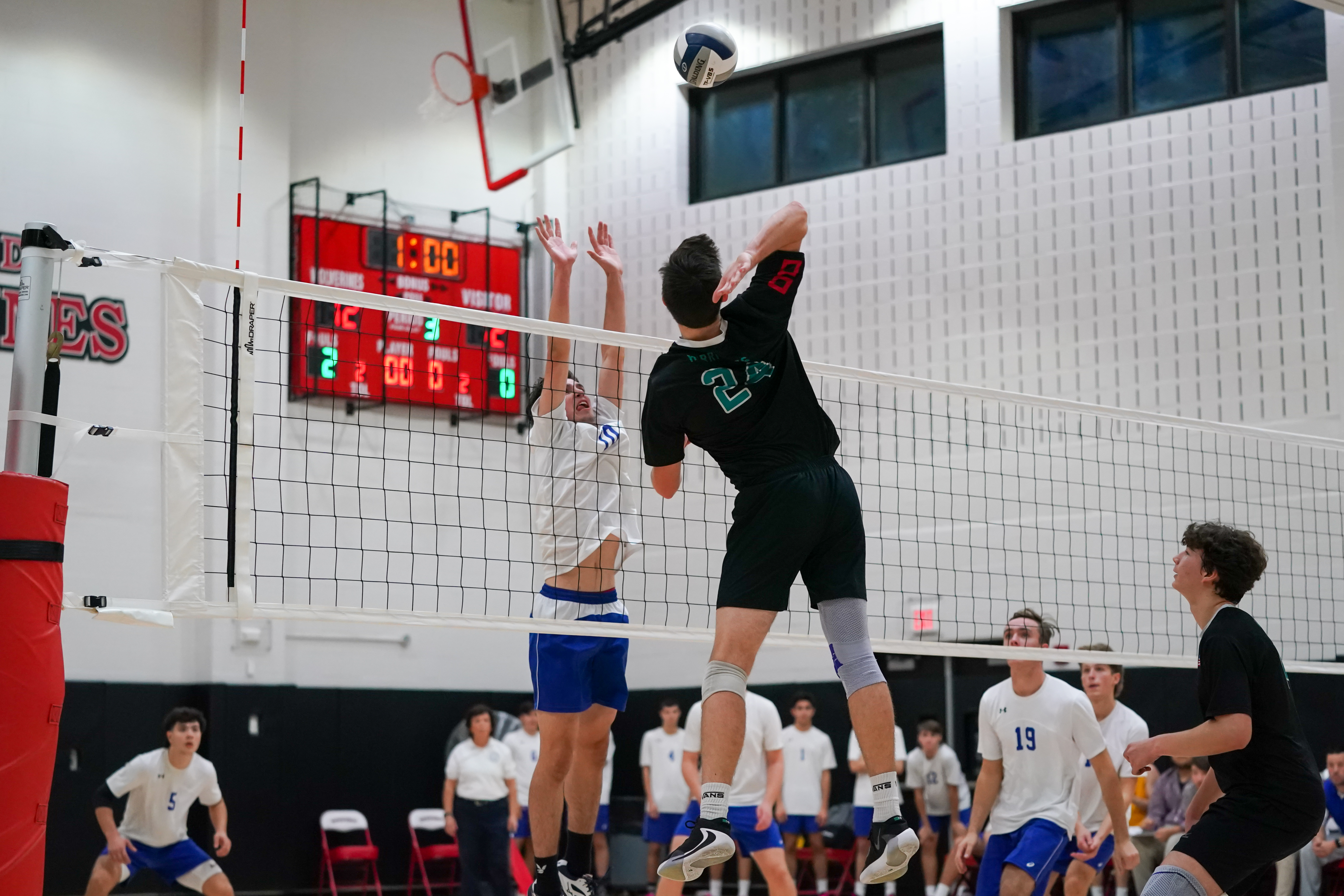 Westhampton Beach junior Ryan Barnett goes up for one of his 15 kills.