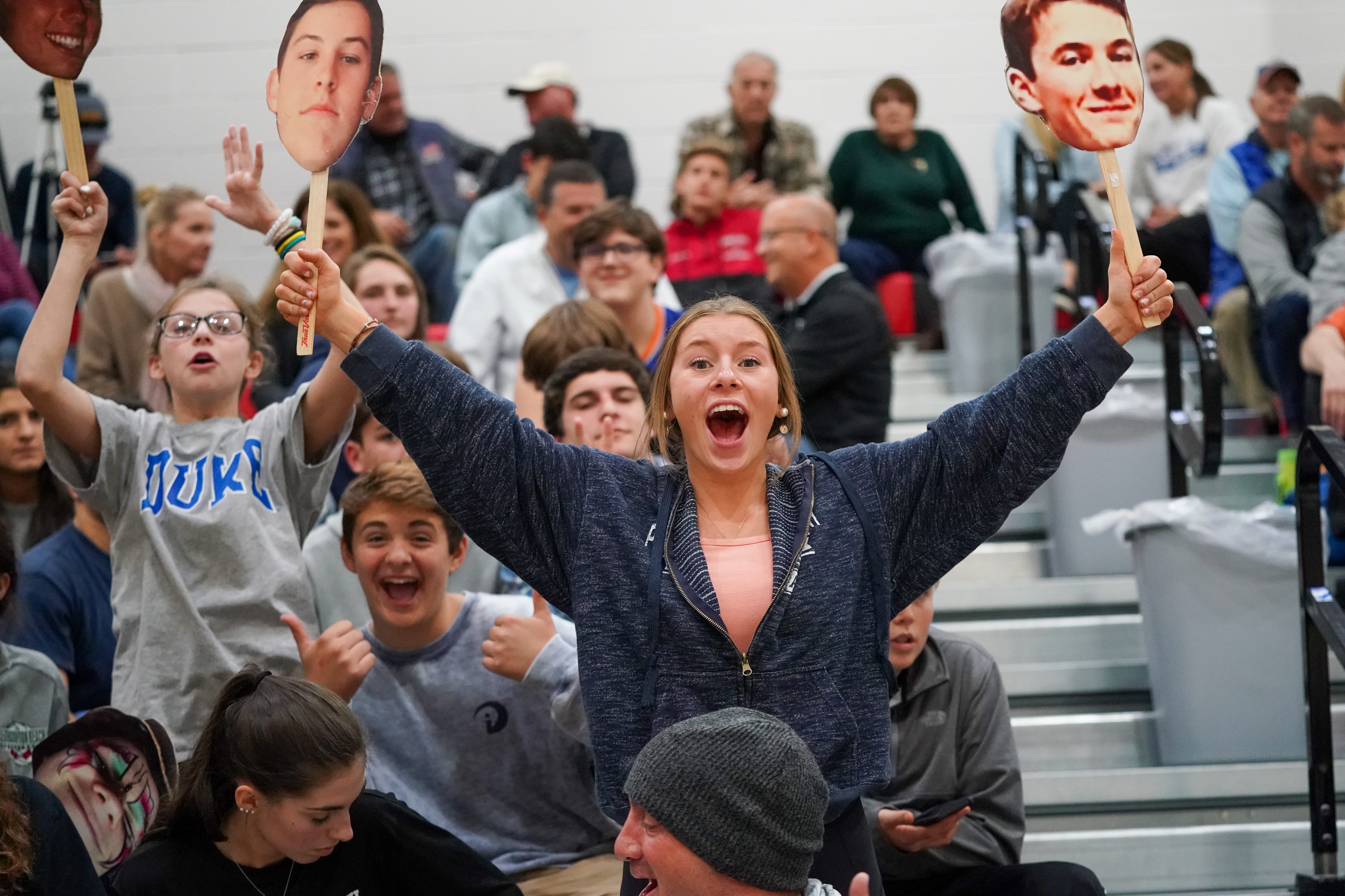 Emma Citarelli was one of the many fans who came out in support for the Westhampton Beach boys volleyball team for Monday's county championship match.