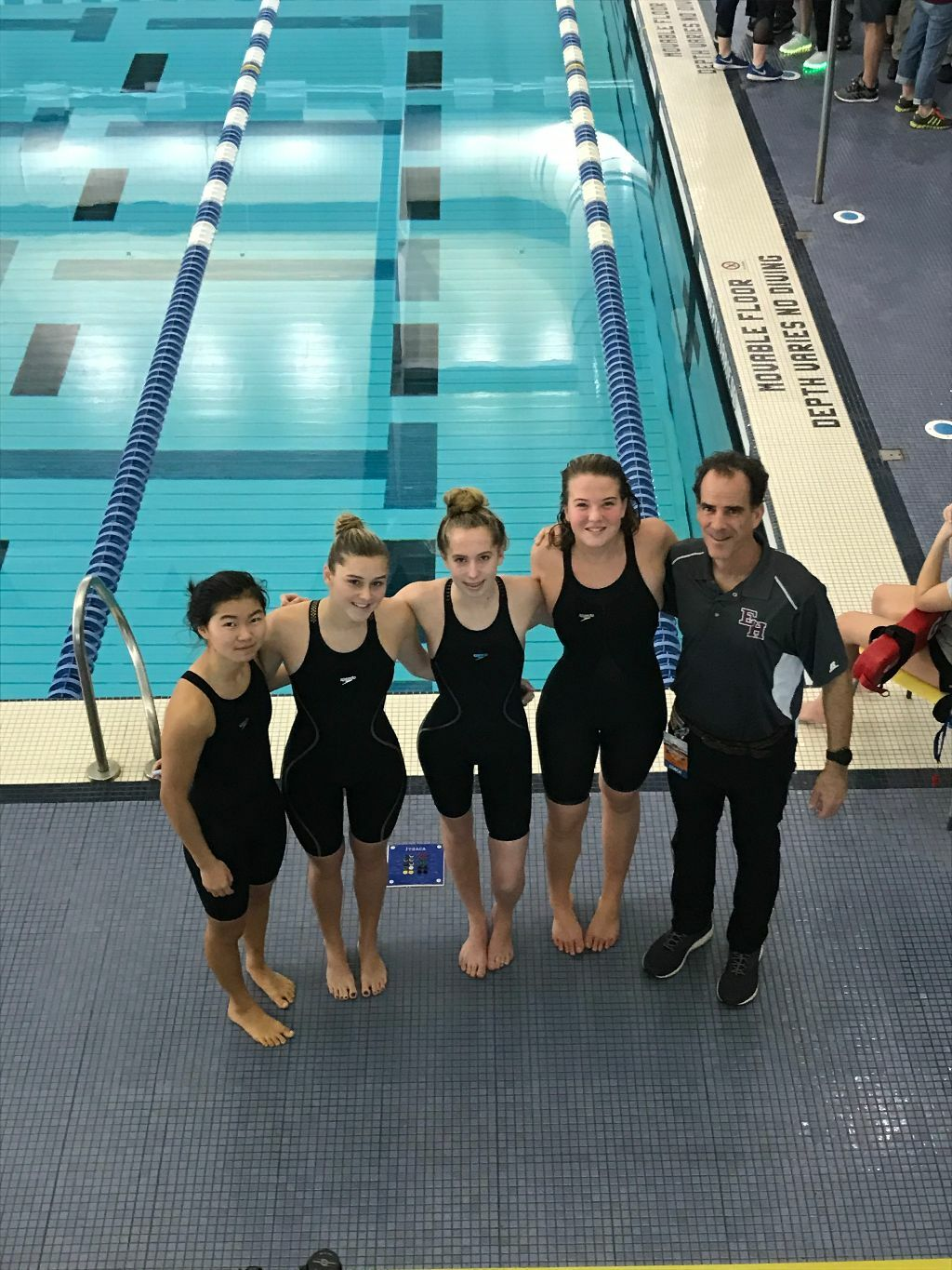 Lady Bonackers, from left to right, Darcy McFarland, Sophia Swanson, Jane Brierley and Julia Brierley and head coach Craig Brierley.