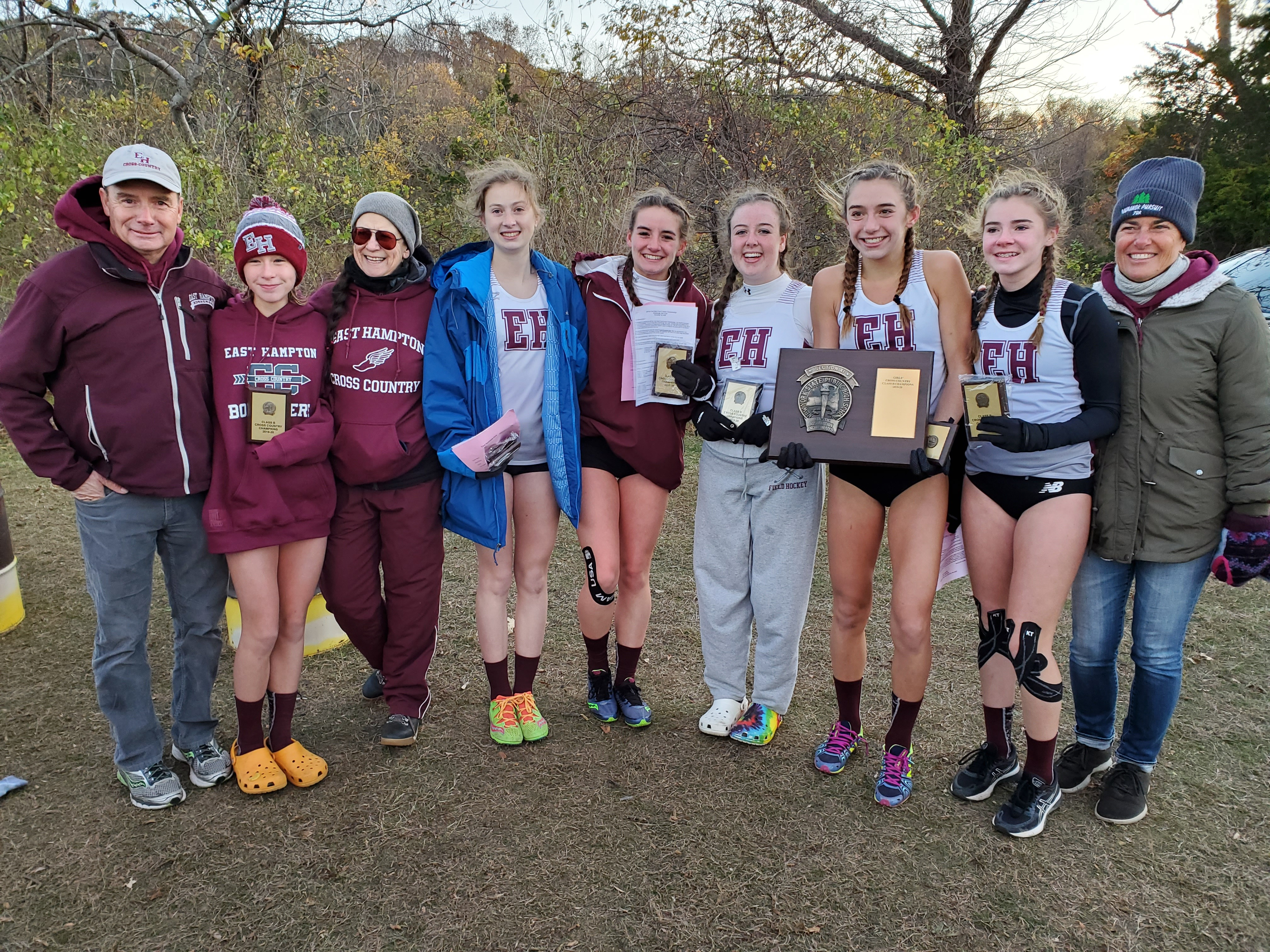The East Hampton girls cross country team won its first ever county title on Friday.