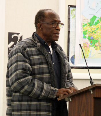 Mr. Haney speaking to Town Board members in 2009.  PRESS FILE