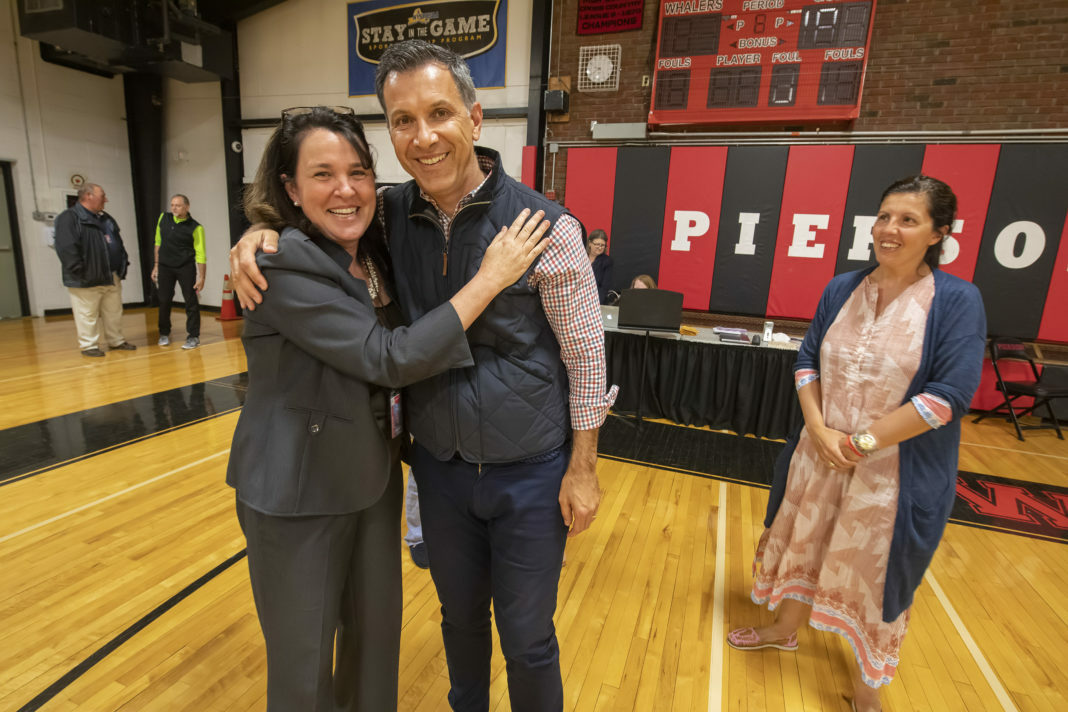 Sag Harbor Schools Superintendent Katy Graves with board member Yorgos Tsibiridis following his election to the school board earlier this year. MICHAEL HELLER