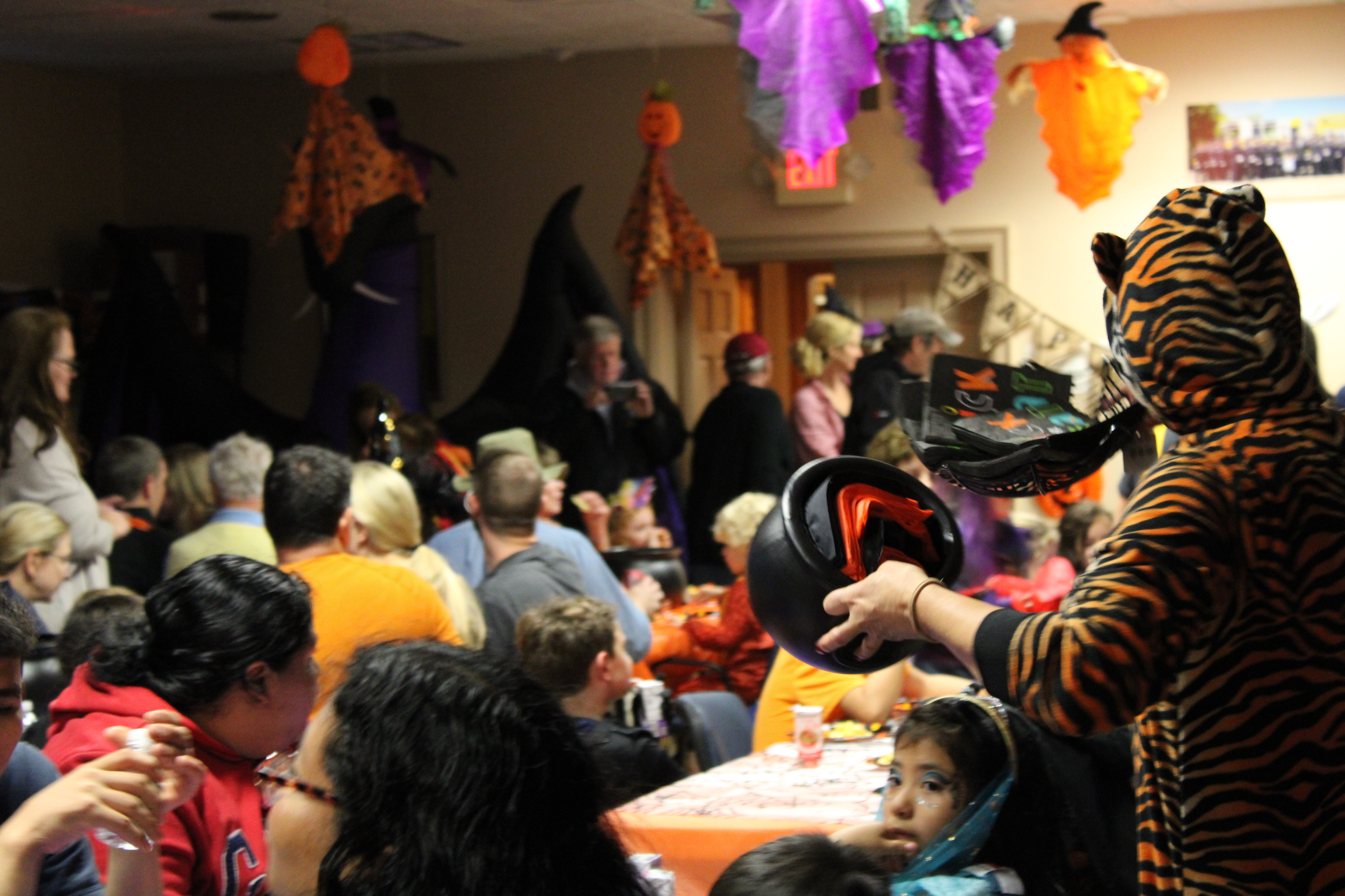The Halloween dinner at the Quogue Firehouse before announcing the winners of the scarecrow contest.  RACHEL VALDESPINO